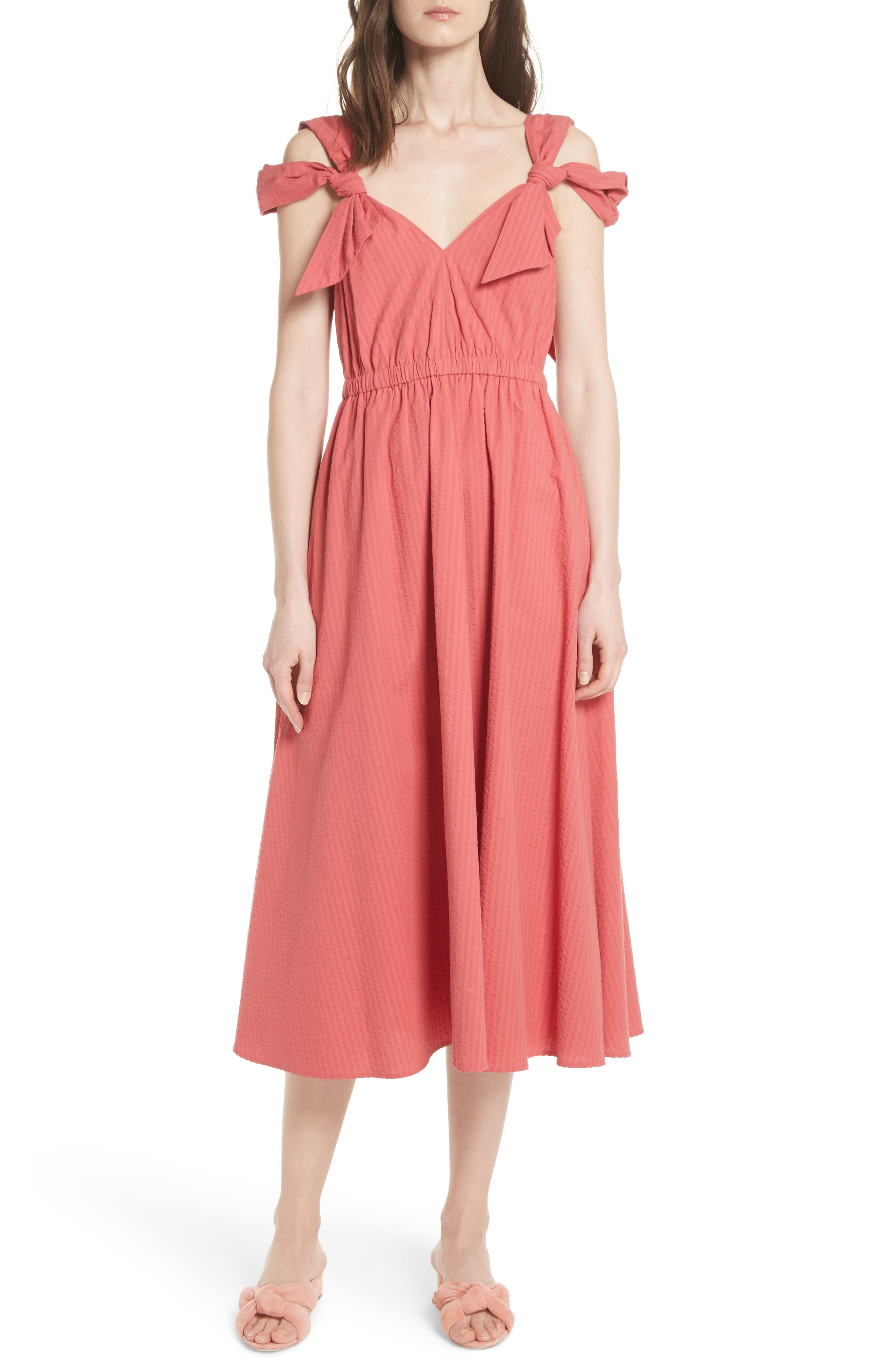 Cold Shoulder Seersucker Dress,                         Main,                         color, Rouge Rose