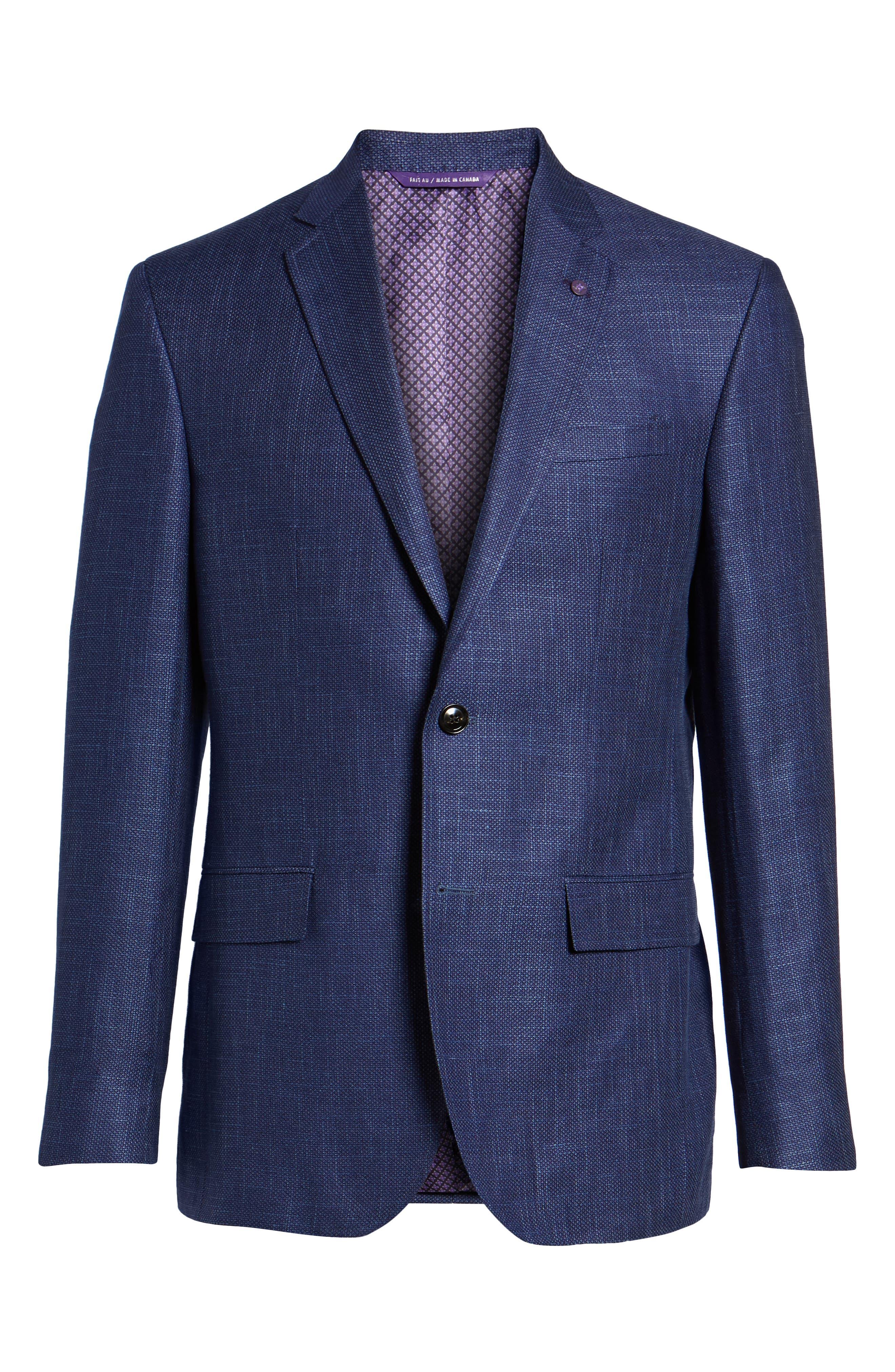 Jay Trim Fit Linen & Wool Blazer,                             Alternate thumbnail 6, color,                             Blue