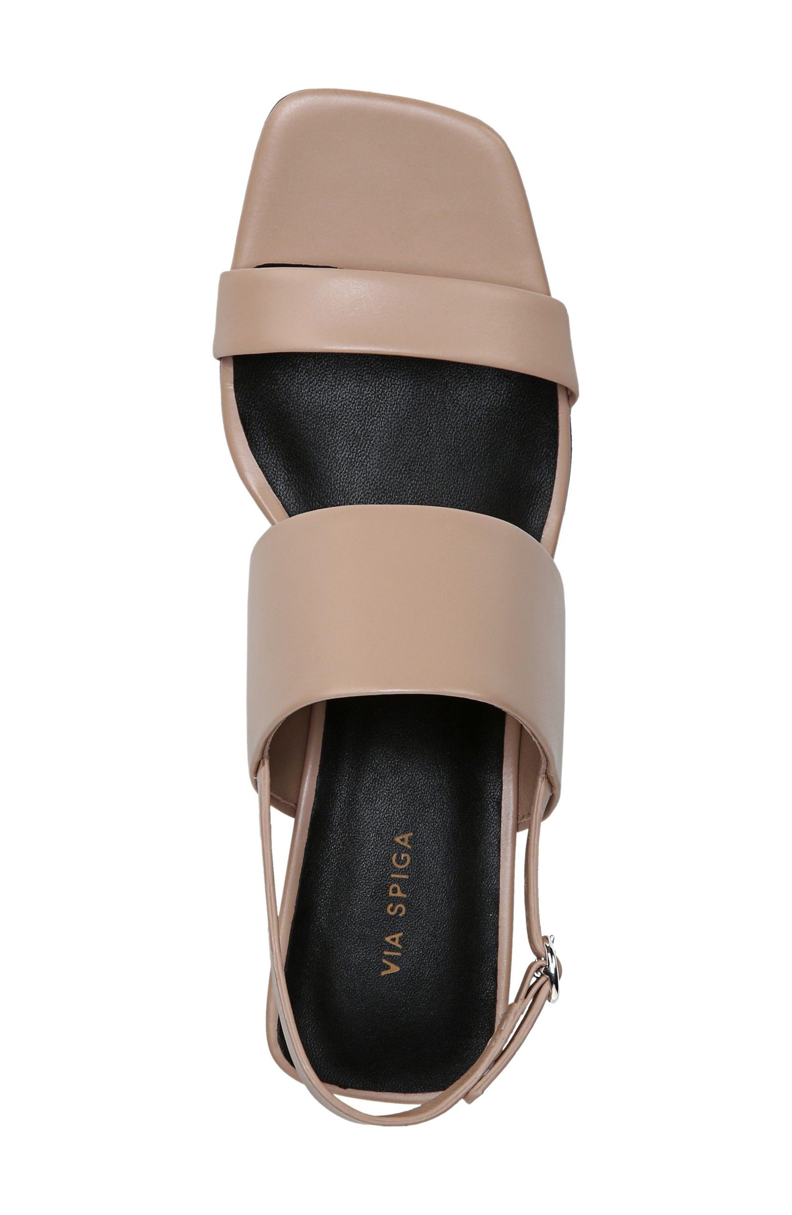 Forte Block Heel Sandal,                             Alternate thumbnail 5, color,                             Sand Patent