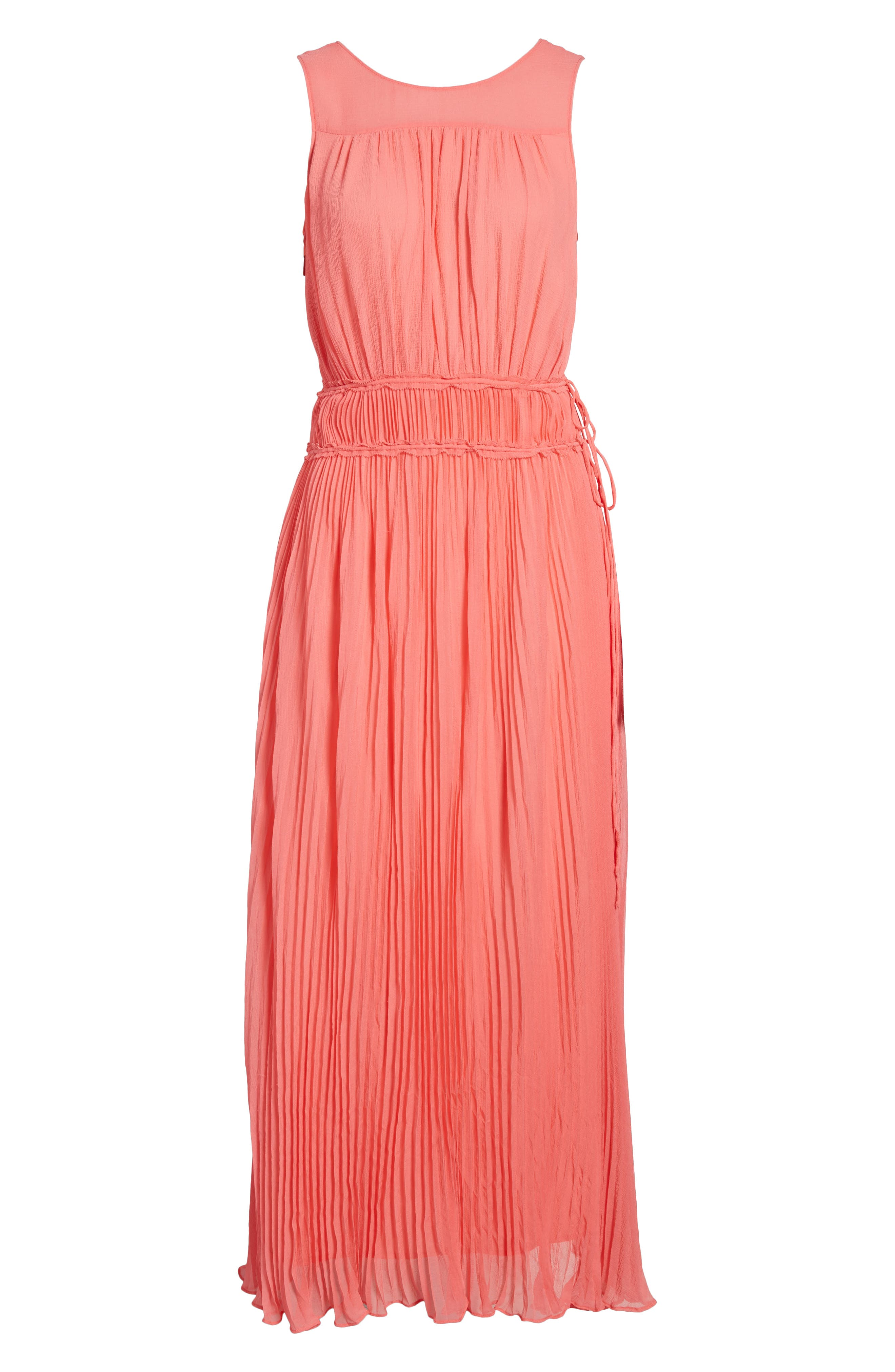 Pleated Crinkle Silk Maxi Dress,                             Alternate thumbnail 6, color,                             Coral Sugar