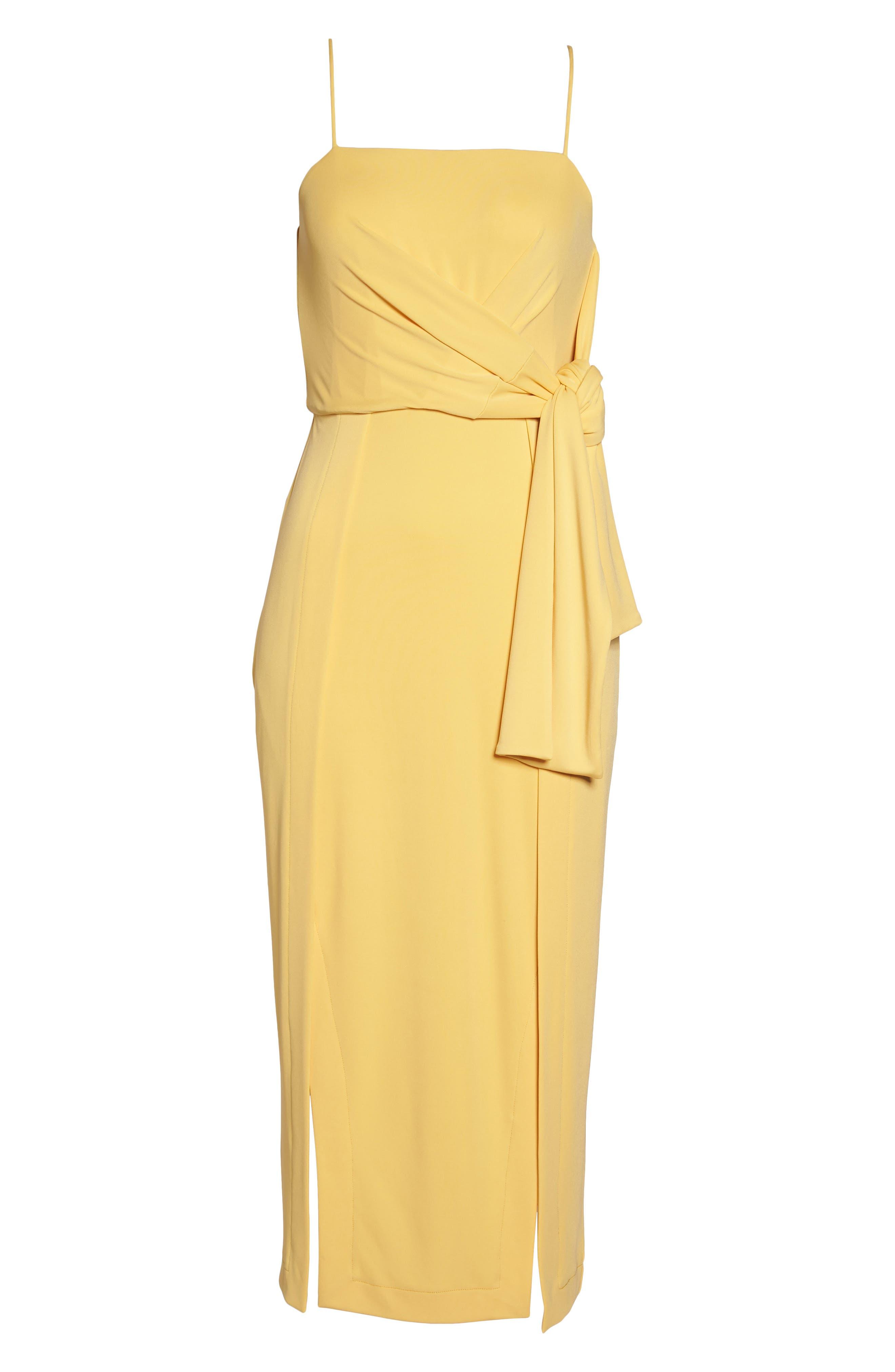 Recollect Slinky Side Tie Midi Dress,                             Alternate thumbnail 6, color,                             Honey
