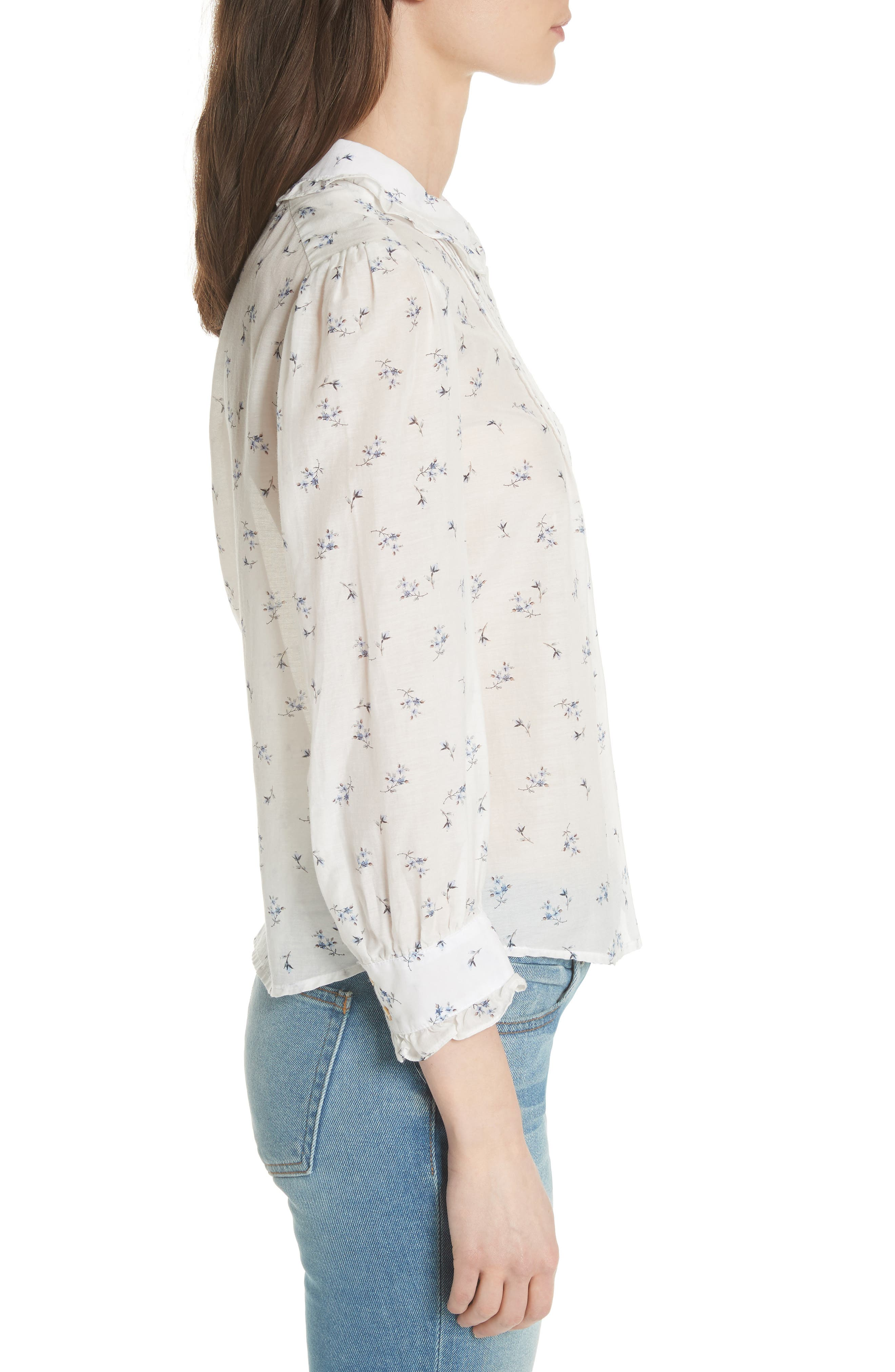 Floral Spring Blouse,                             Alternate thumbnail 3, color,                             Snow Combo