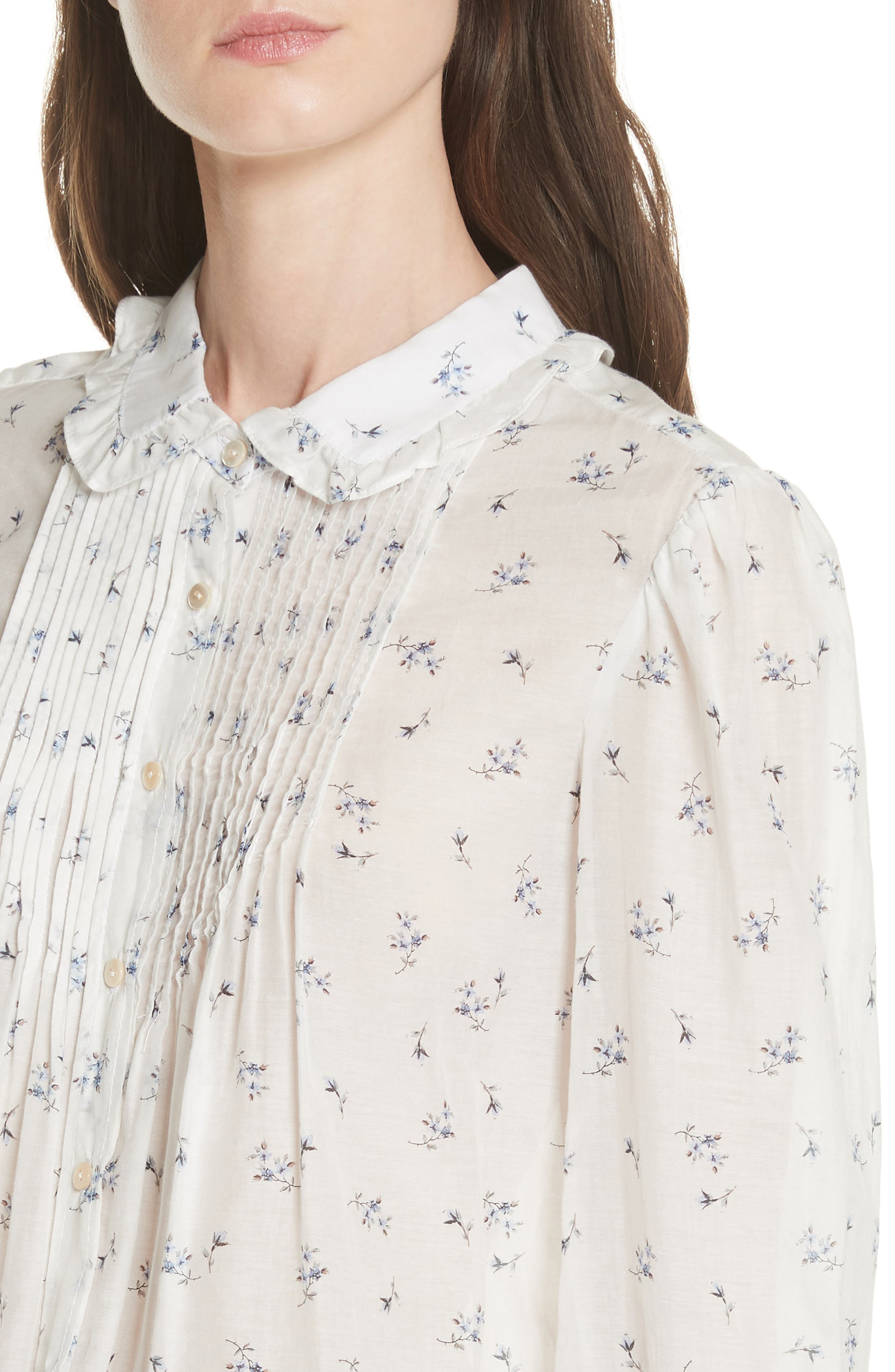 Floral Spring Blouse,                             Alternate thumbnail 4, color,                             Snow Combo