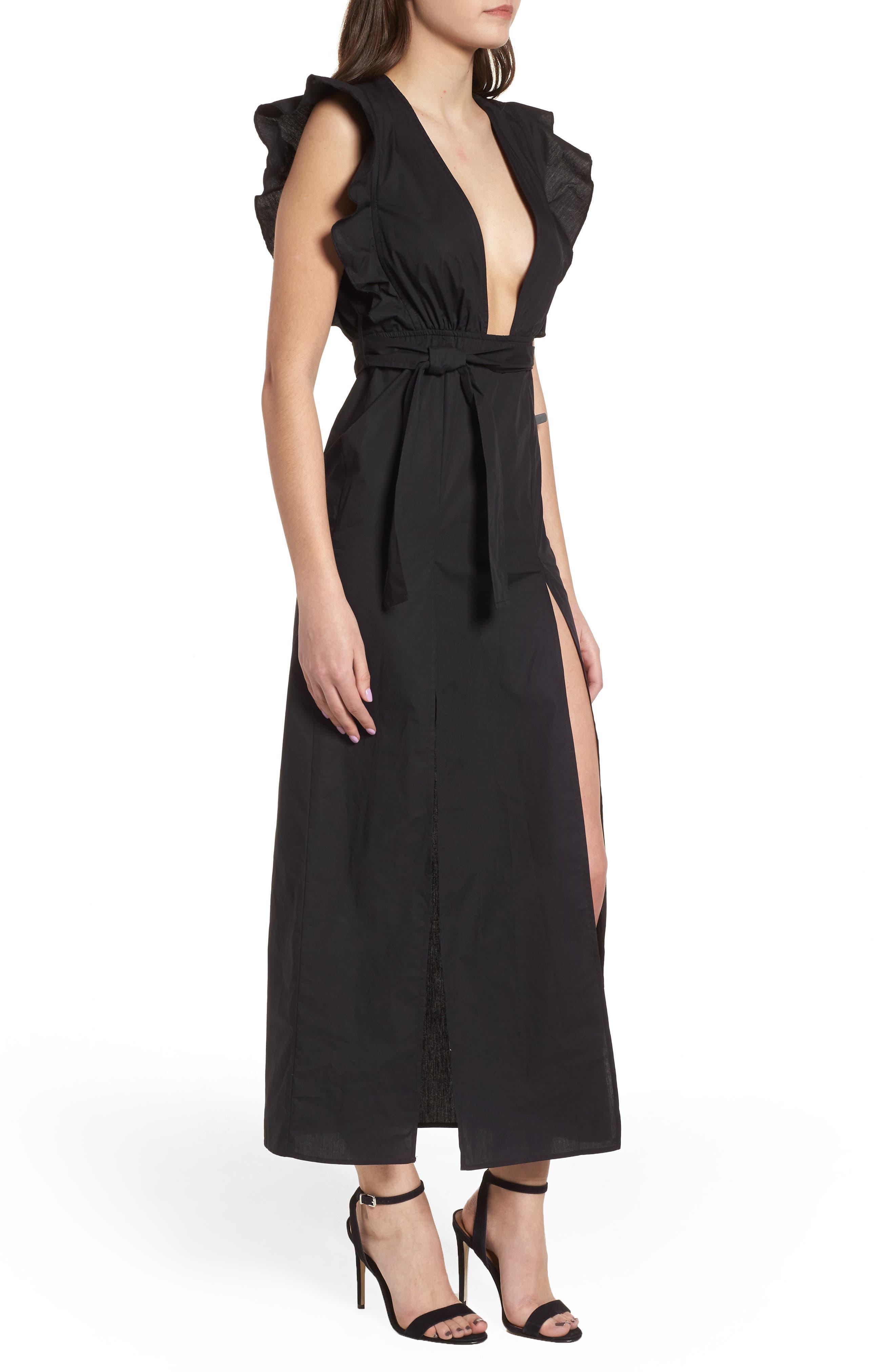 Delilah Maxi Dress,                             Alternate thumbnail 3, color,                             Black