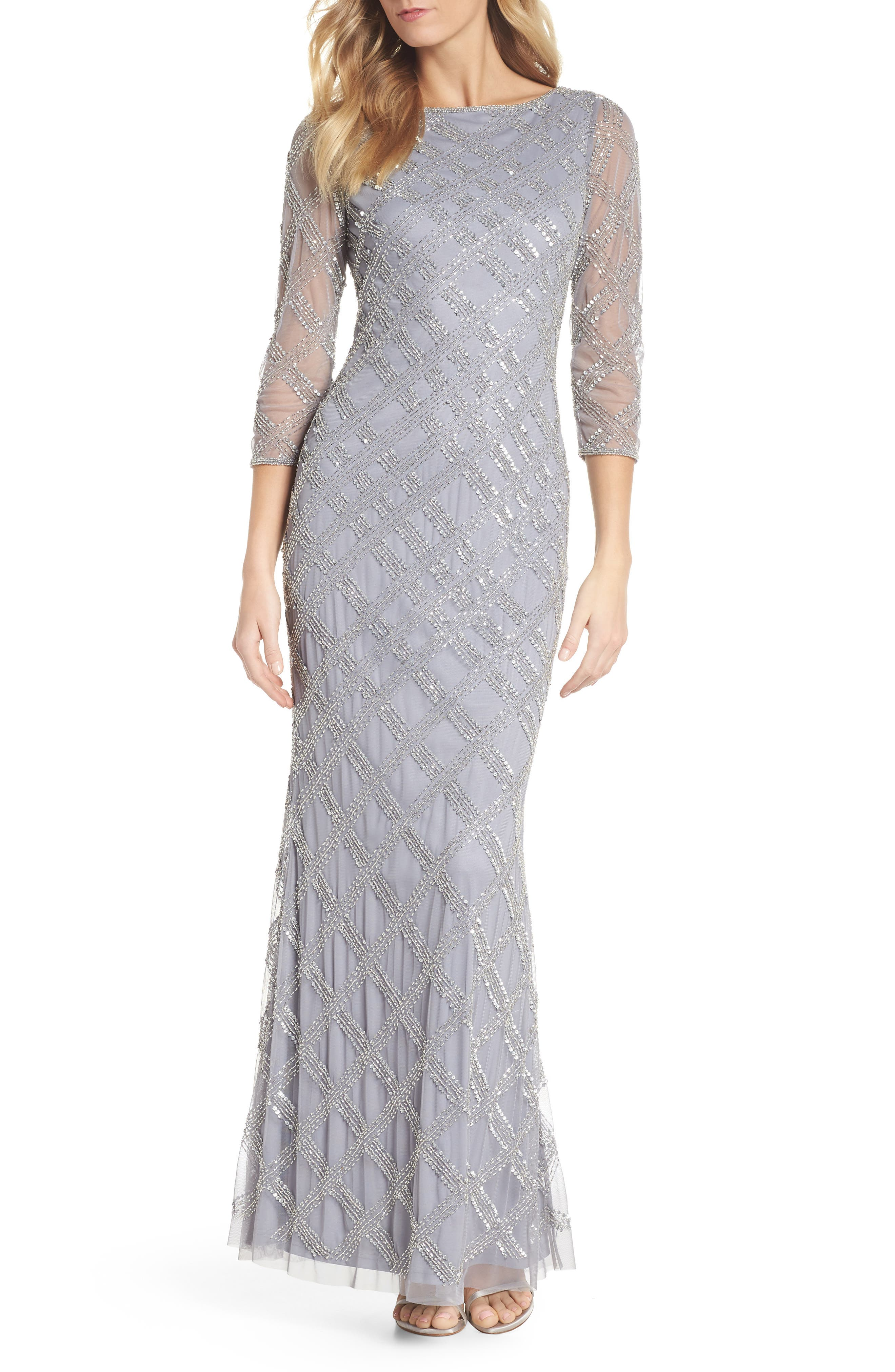 Adrianna Papell Crosshatch Beaded Gown (Regular & Petite)