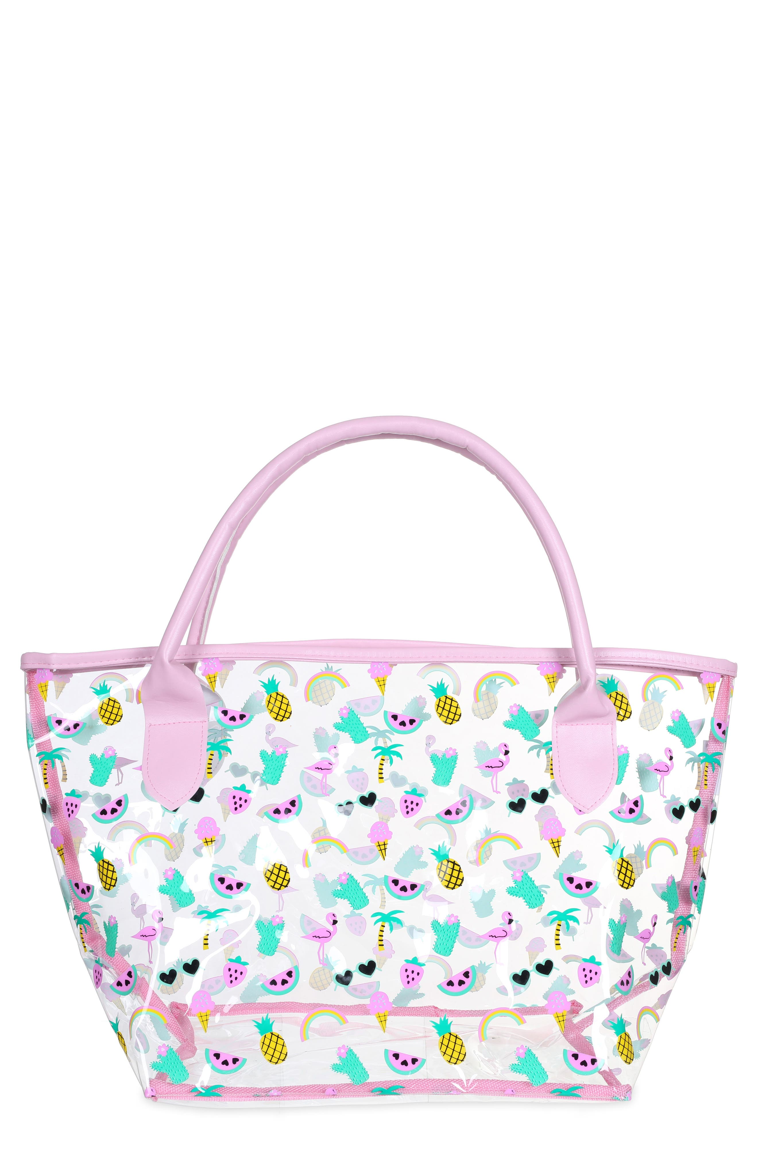 Main Image - Capelli New York Summer Fun Emoji Transparent Tote (Girls)