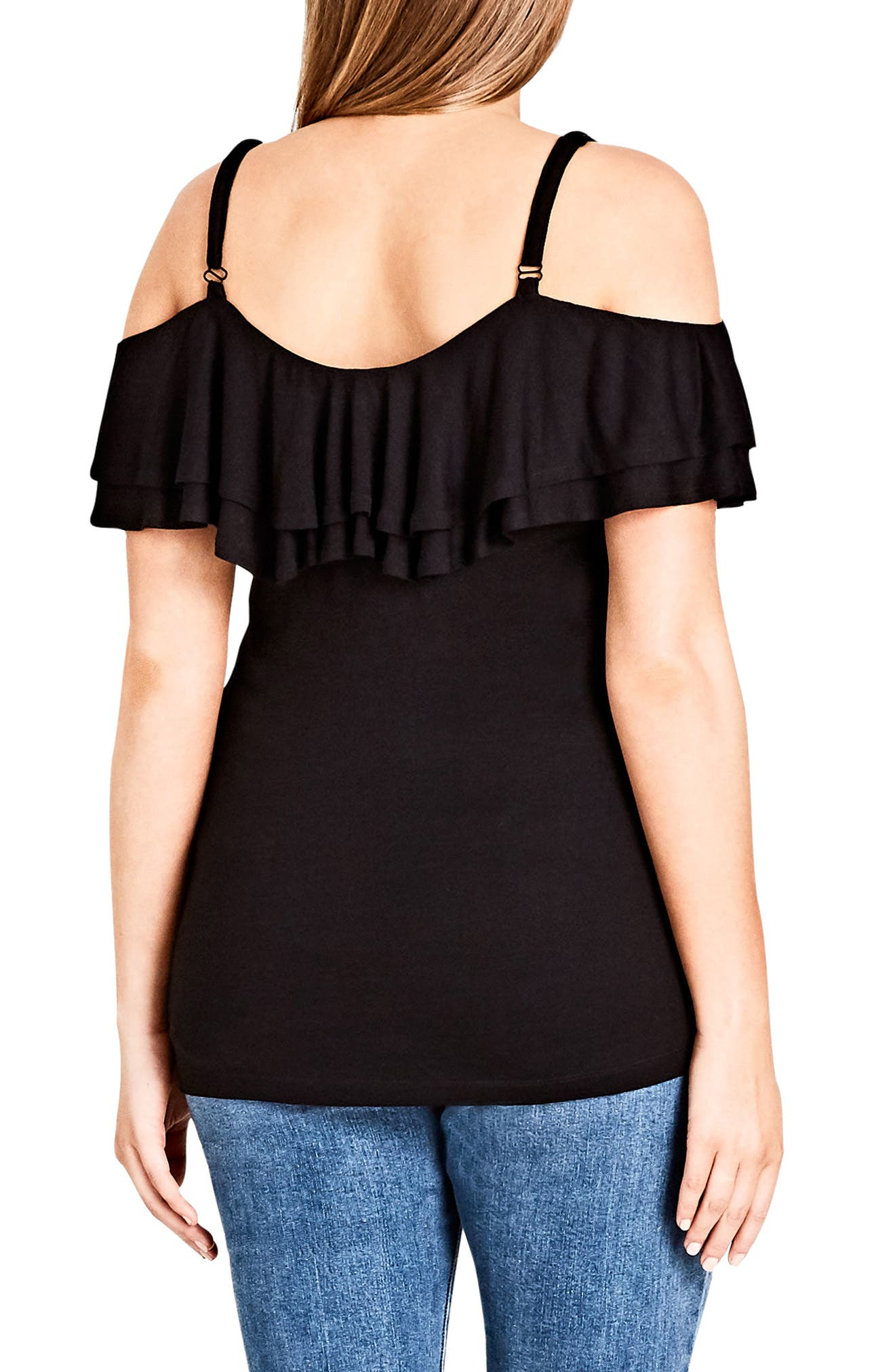 Alternate Image 2  - City Chic Ruffle Romance Off the Shoulder Top (Plus Size)