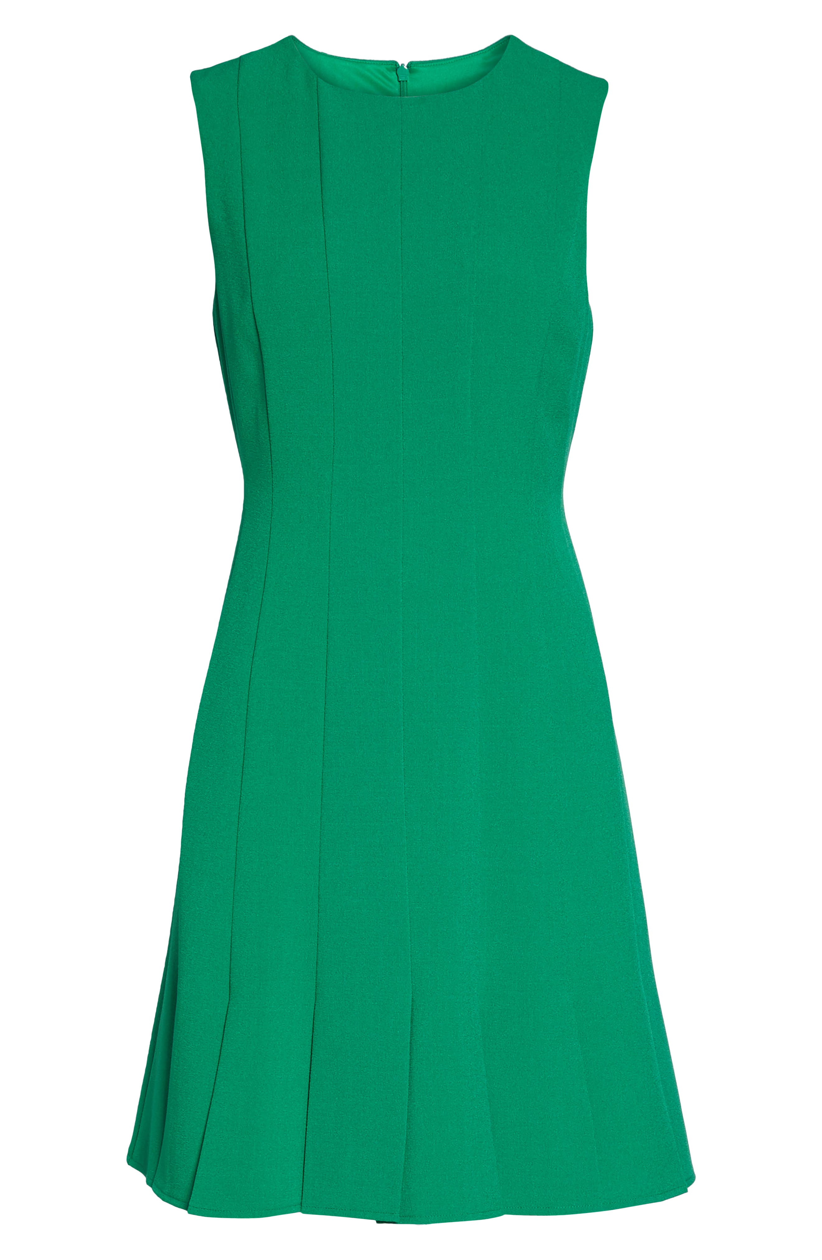 Sleeveless Pleat Panel Fit & Flare Dress,                             Alternate thumbnail 7, color,                             Green
