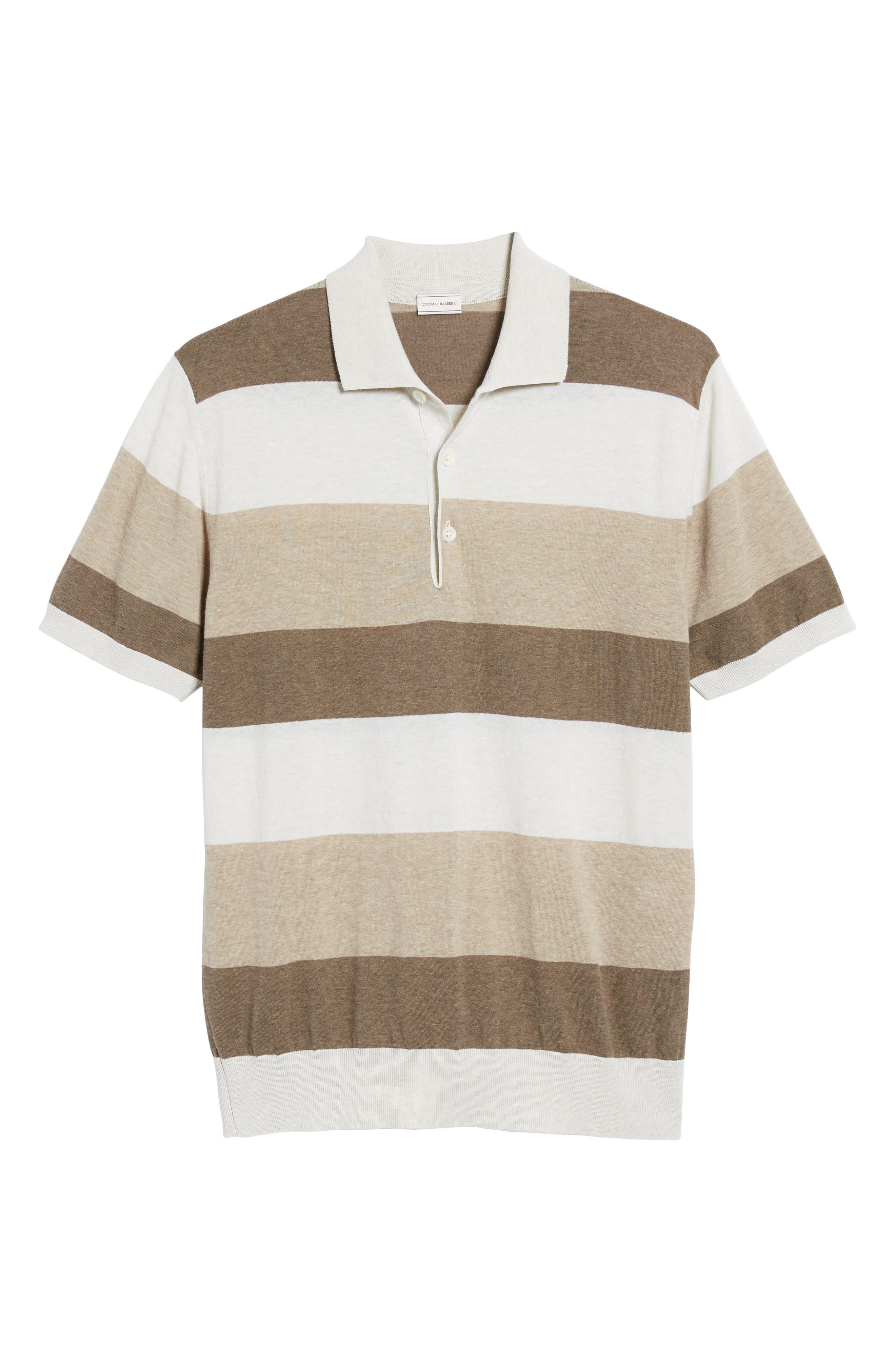 Stripe Polo Shirt,                             Alternate thumbnail 6, color,                             Brown
