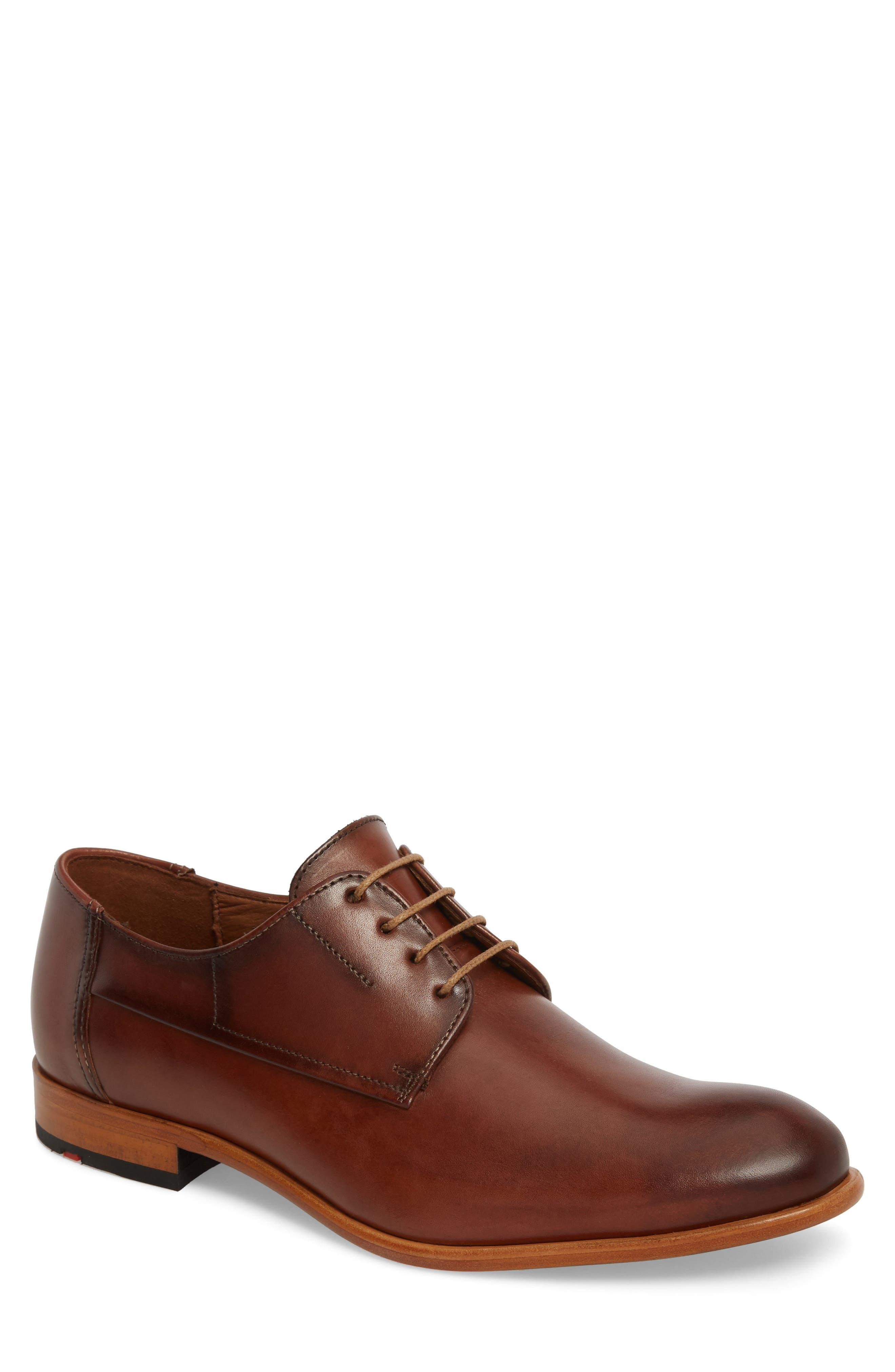 Nansen Plain Toe Derby,                             Main thumbnail 1, color,                             Cognac Leather