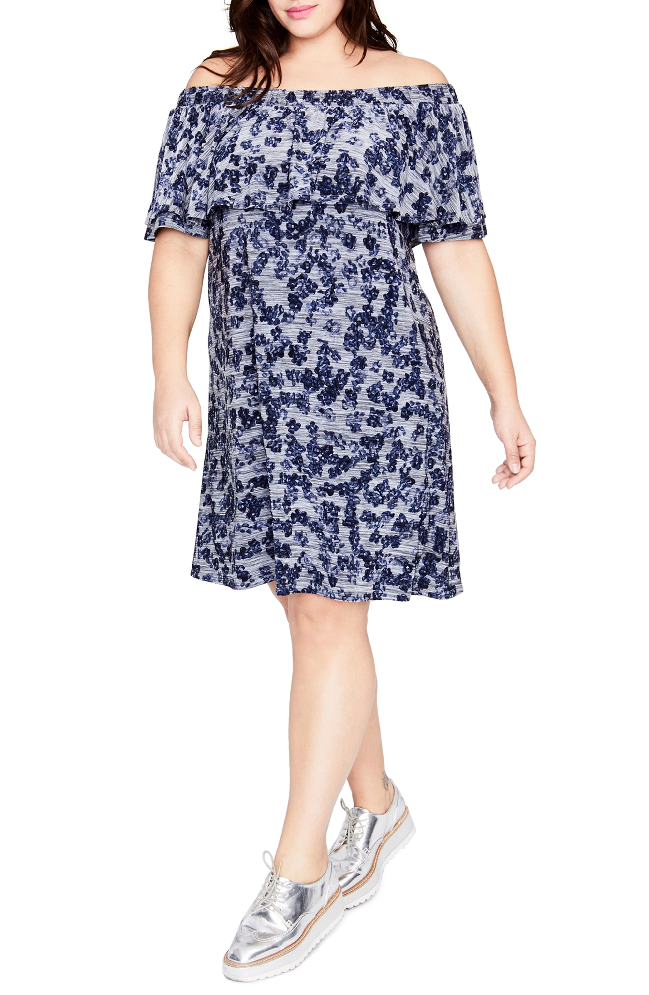Off the Shoulder Dress,                         Main,                         color, Navy Combo