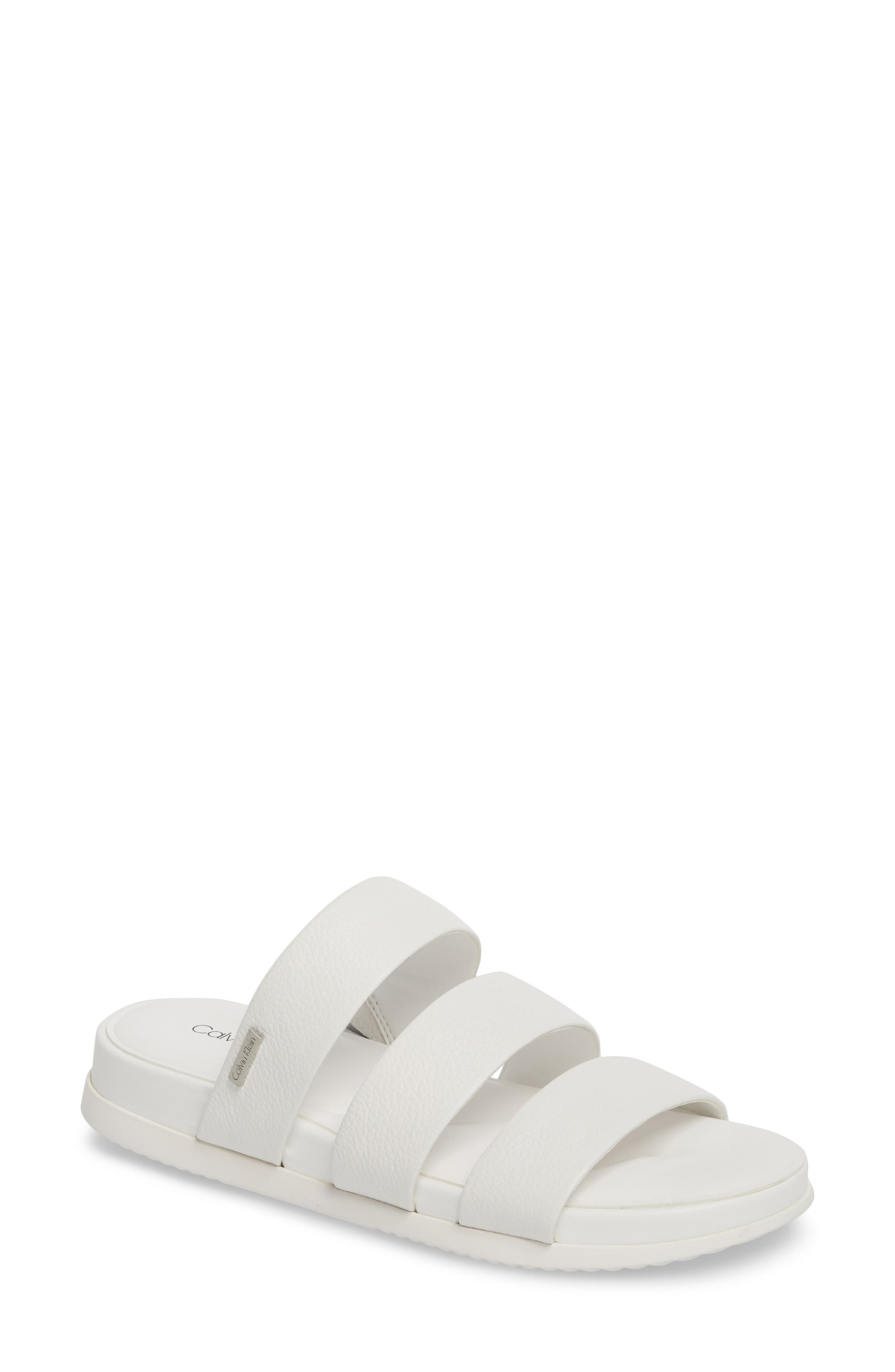 Dalana Slide Sandal,                             Main thumbnail 1, color,                             Platinum White Pebble Leather