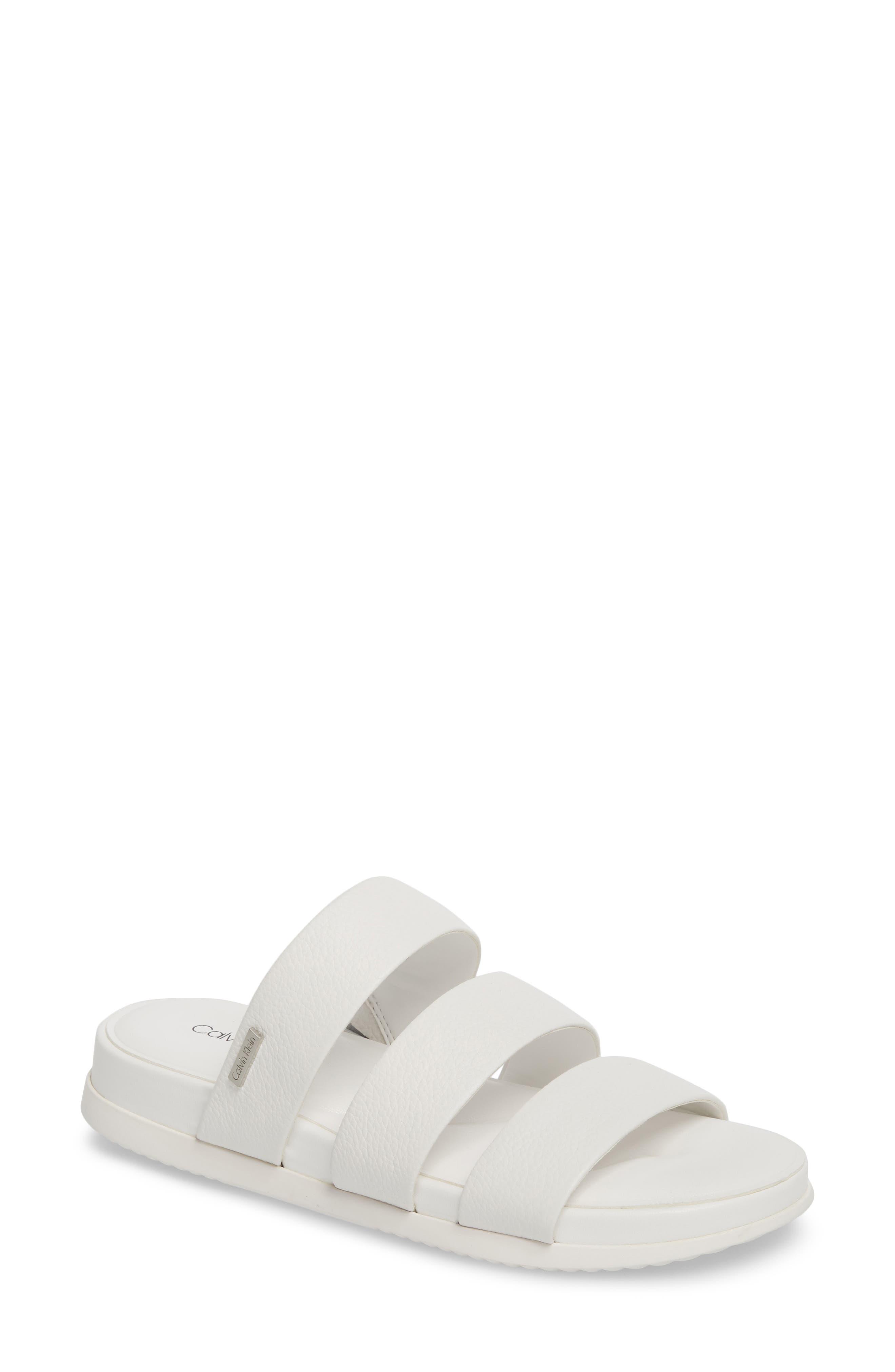 Dalana Slide Sandal,                         Main,                         color, Platinum White Pebble Leather