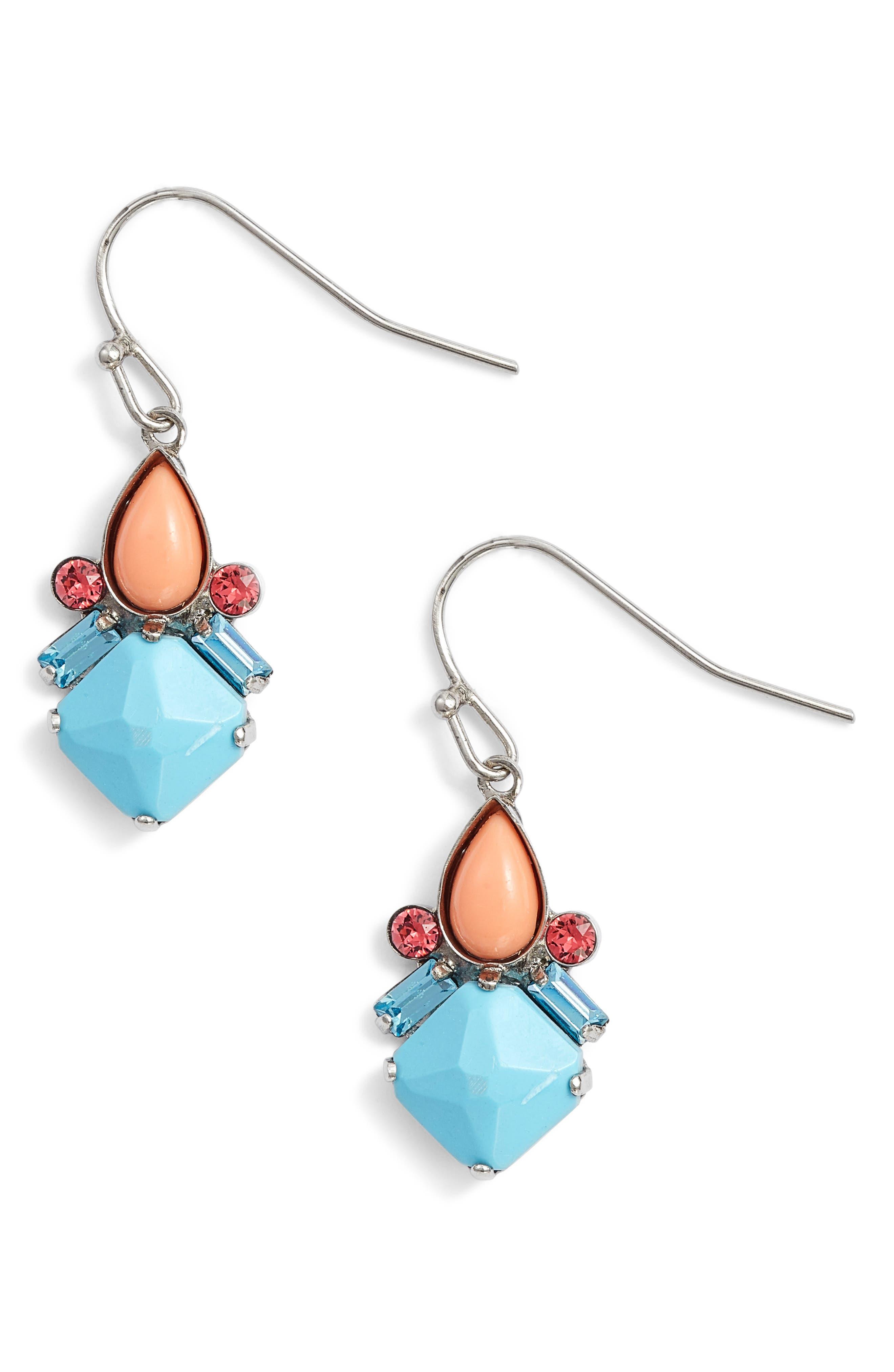 Cassia Earrings,                             Main thumbnail 1, color,                             Aqua/ Orange