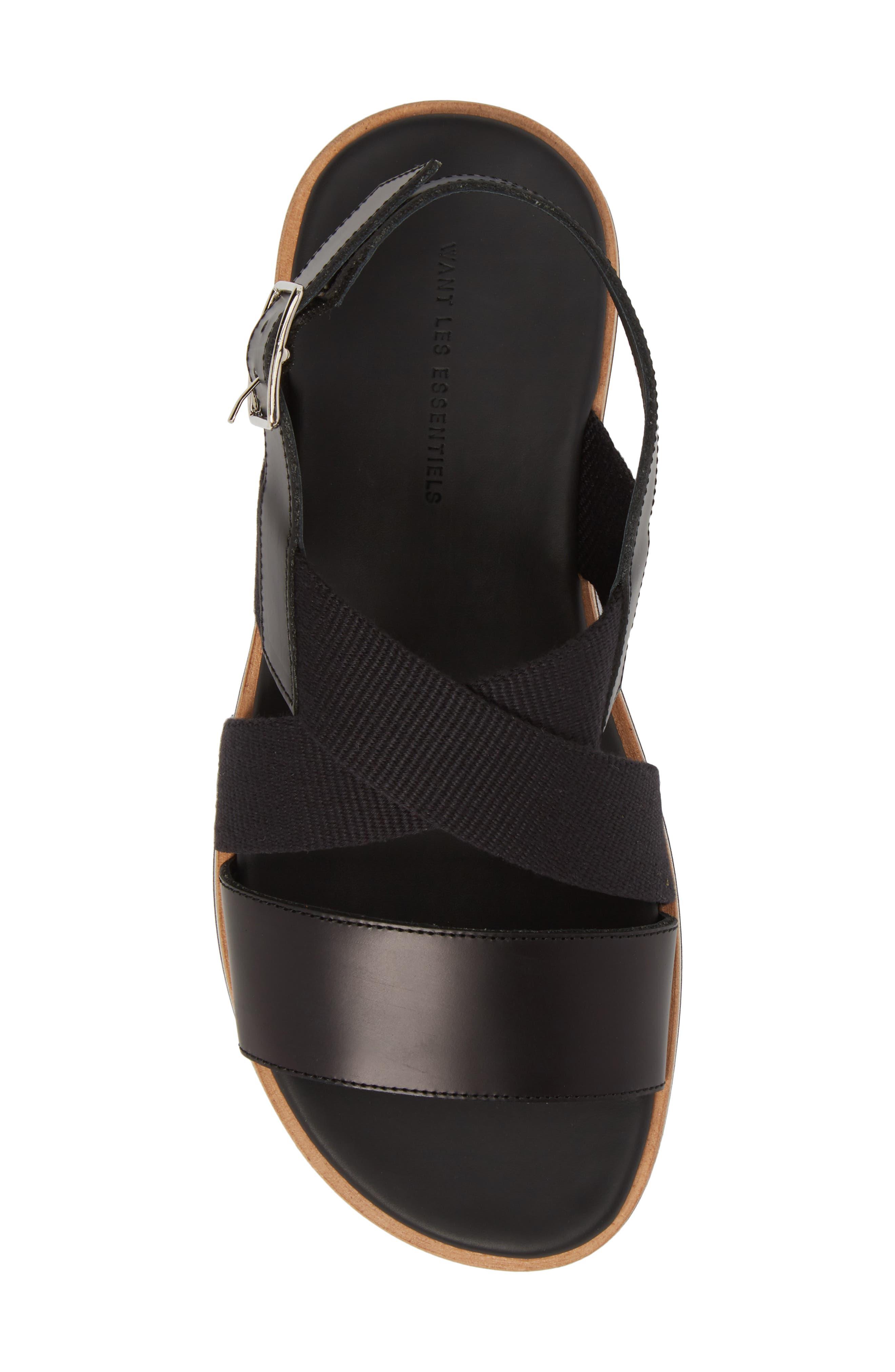 Jobim Sandal,                             Alternate thumbnail 5, color,                             Black Cord/ Black