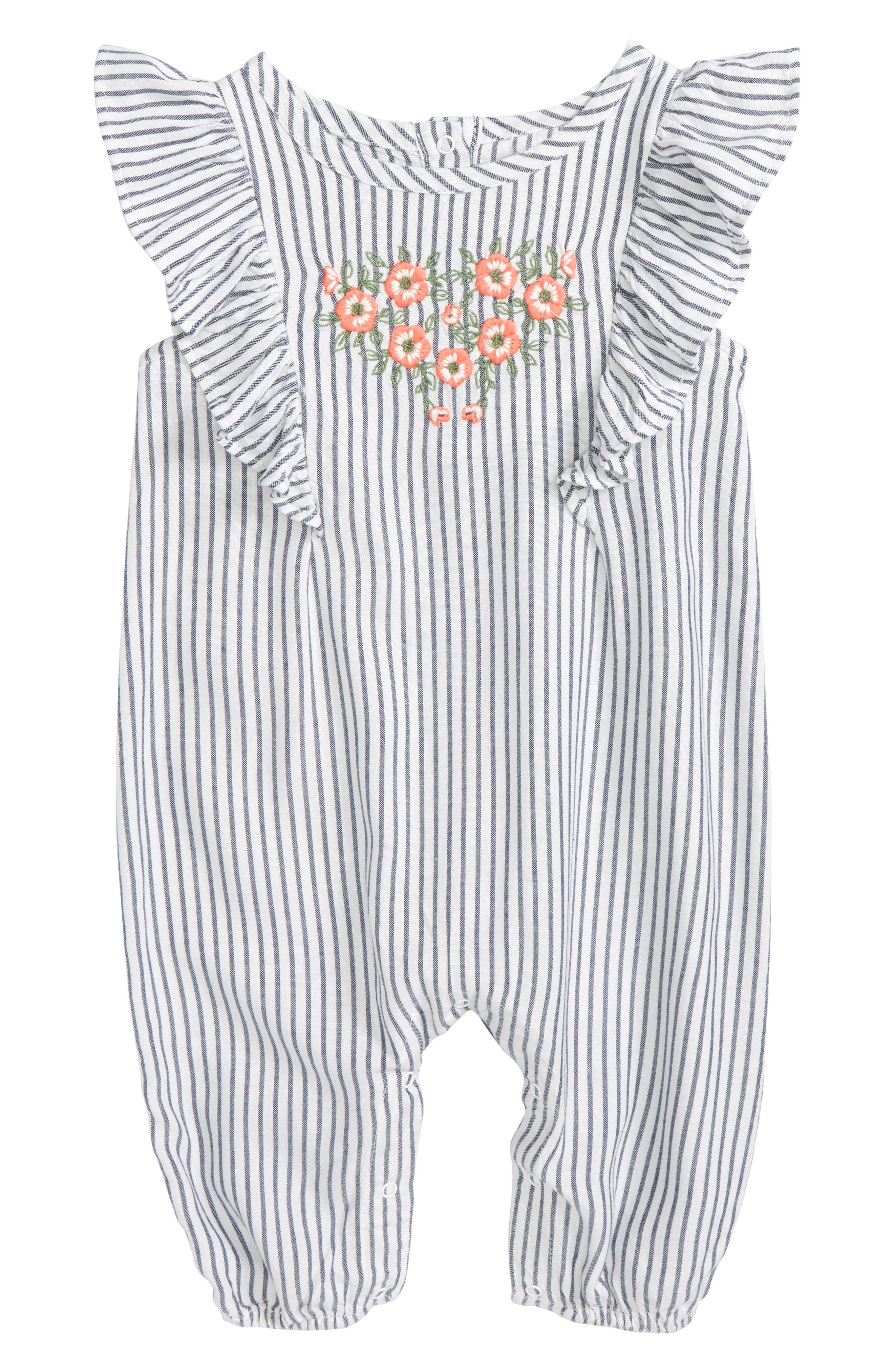 Tucker + Tate Flutter Sleeve Embroidered Romper (Baby Girls)