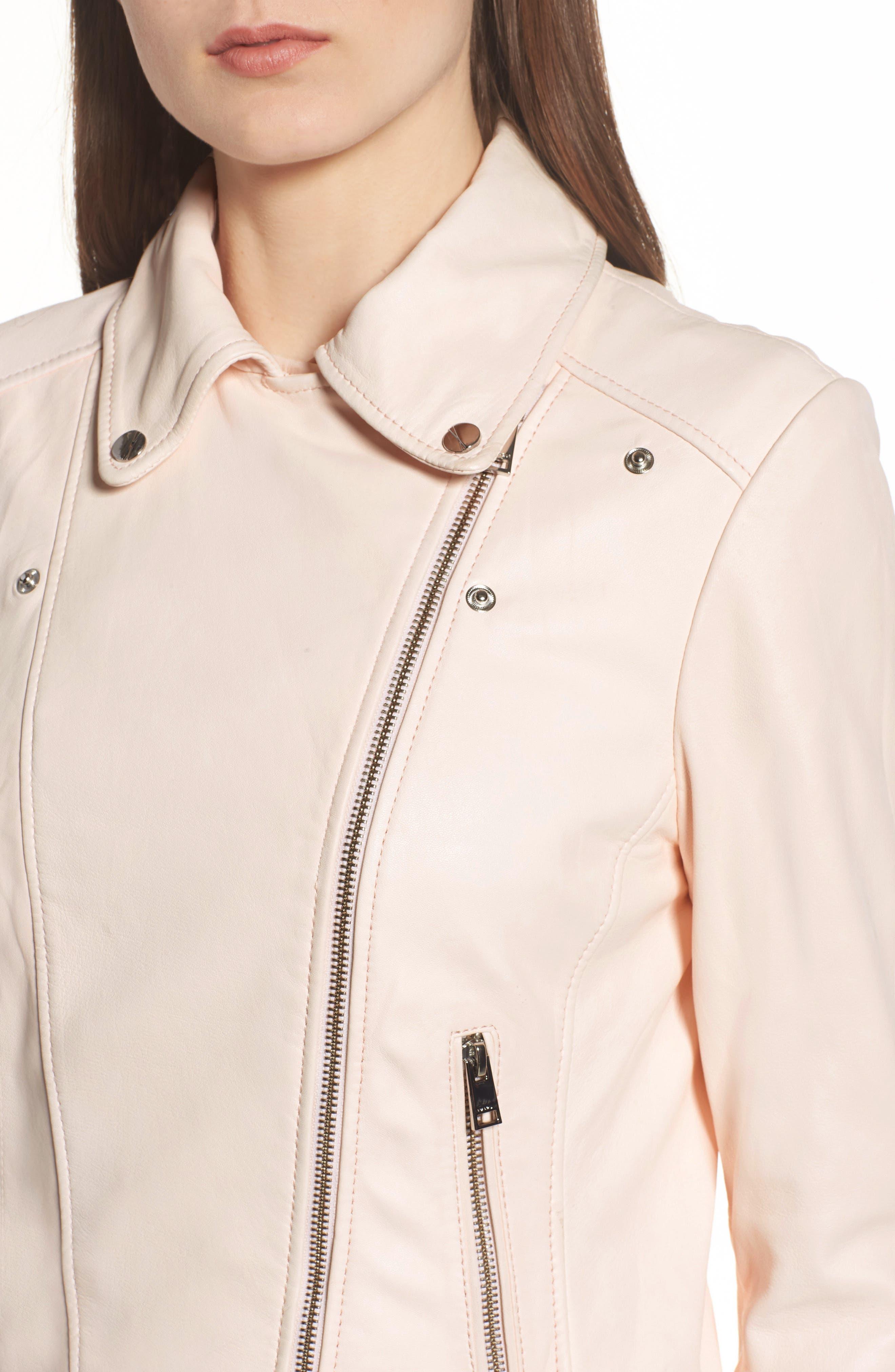 Eco-Friendly Leather Moto Jacket,                             Alternate thumbnail 4, color,                             Light Pink