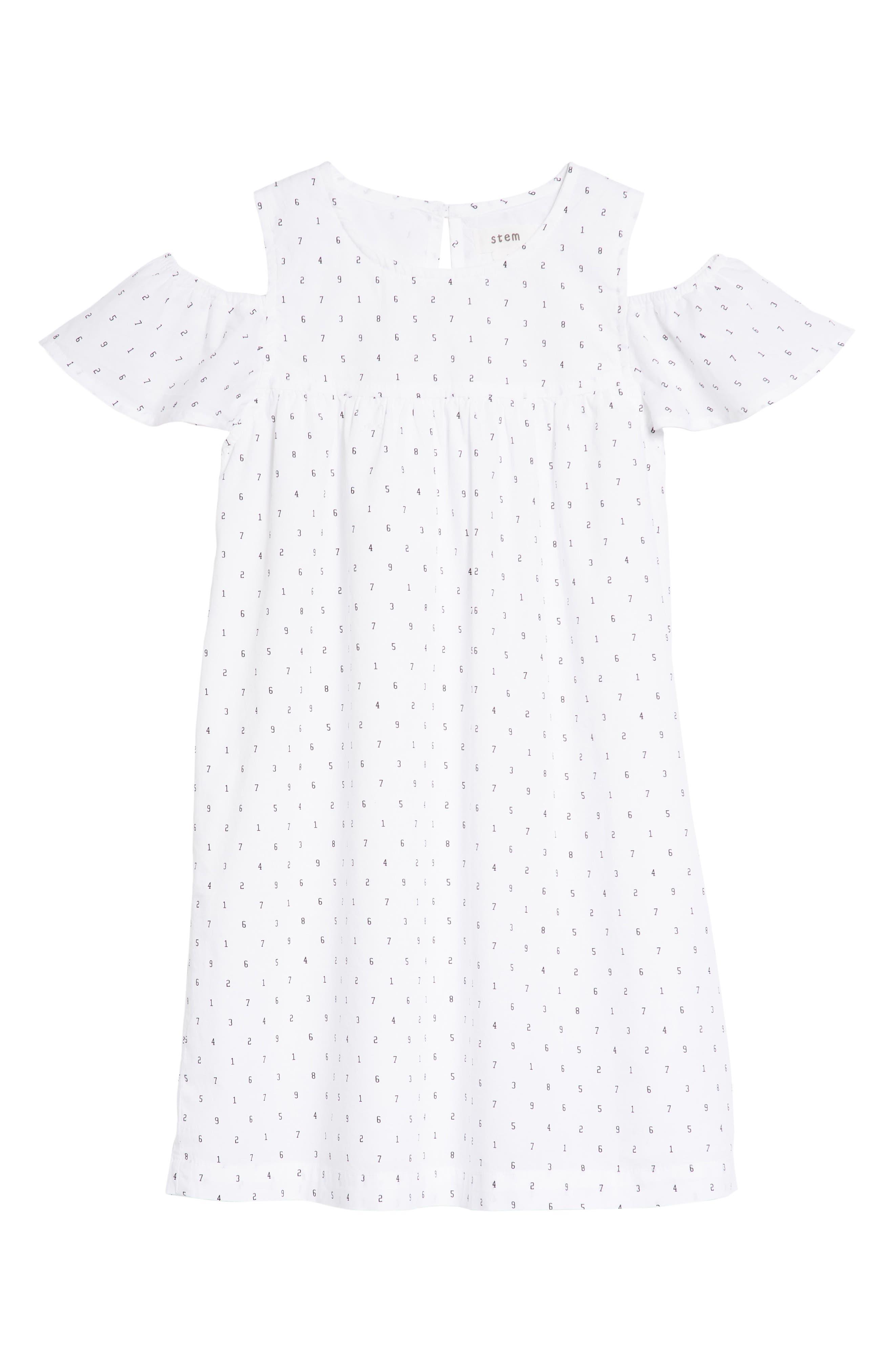 Cold Shoulder Dress,                         Main,                         color, White Typewriter