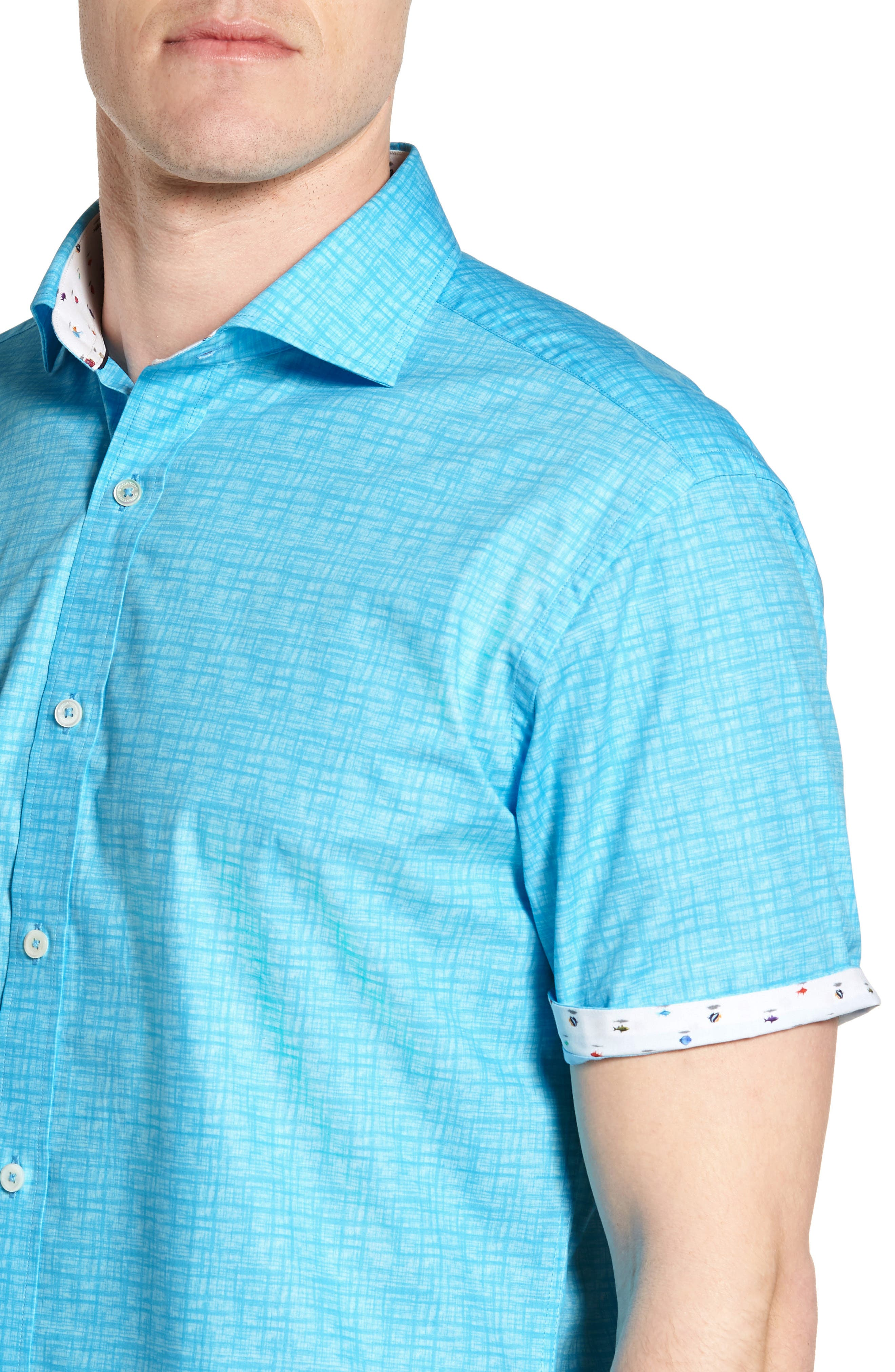 Freehand Shaped Fit Sport Shirt,                             Alternate thumbnail 4, color,                             Aqua