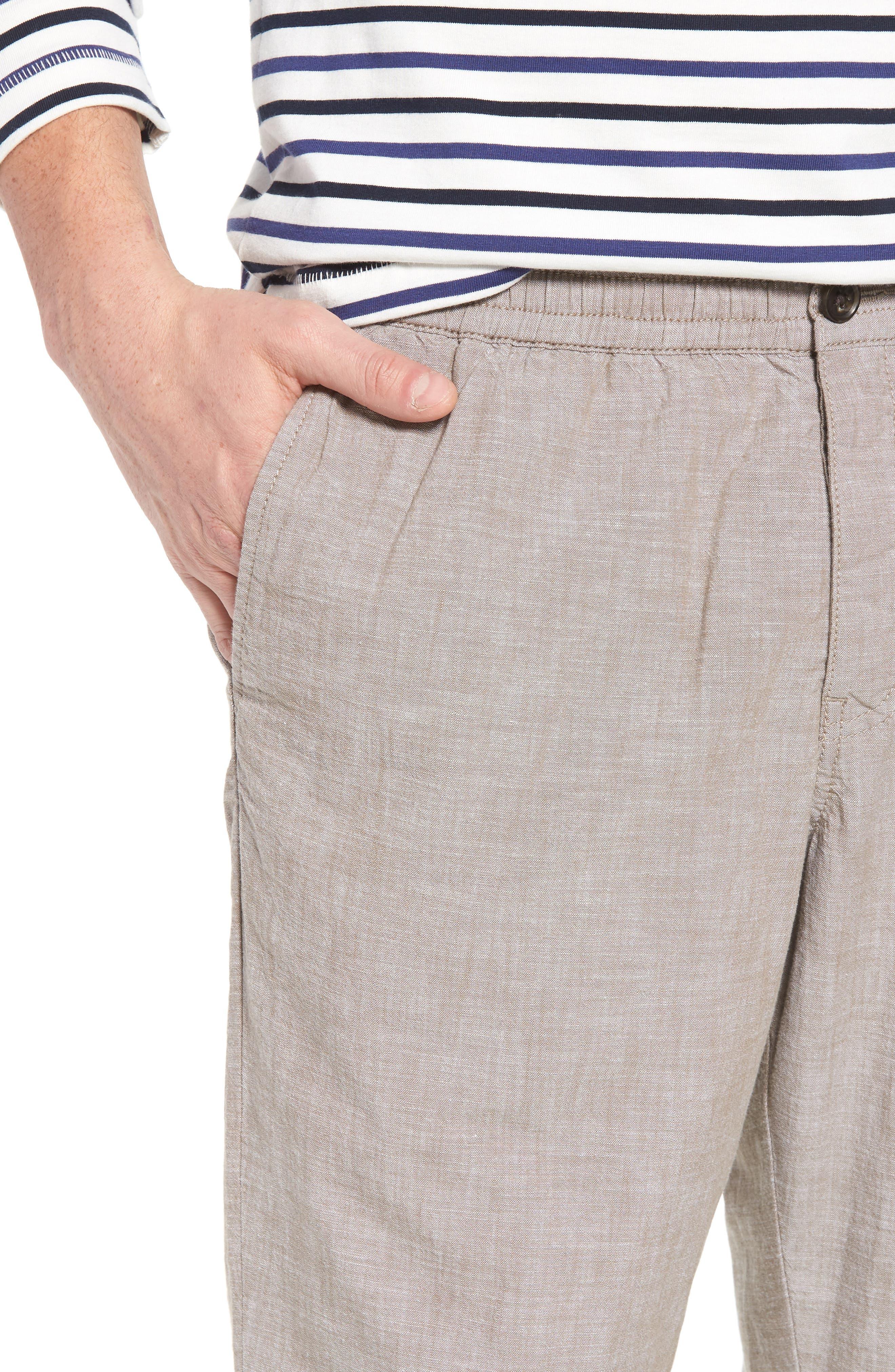 Crop Chambray Chino Pants,                             Alternate thumbnail 4, color,                             Tan Burrow Chambray
