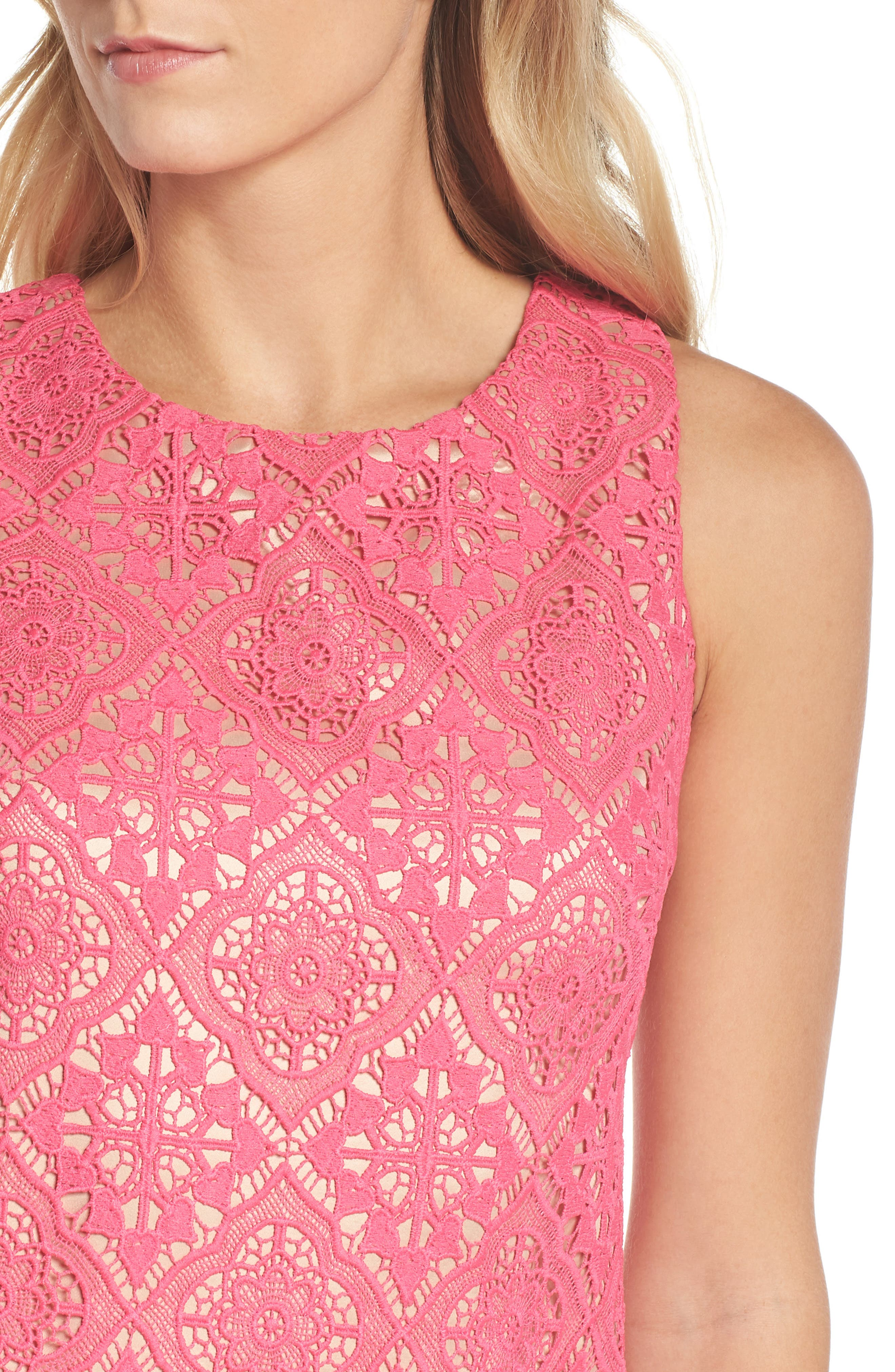 Sleeveless Lace Shift Dress,                             Alternate thumbnail 4, color,                             Hot Pink