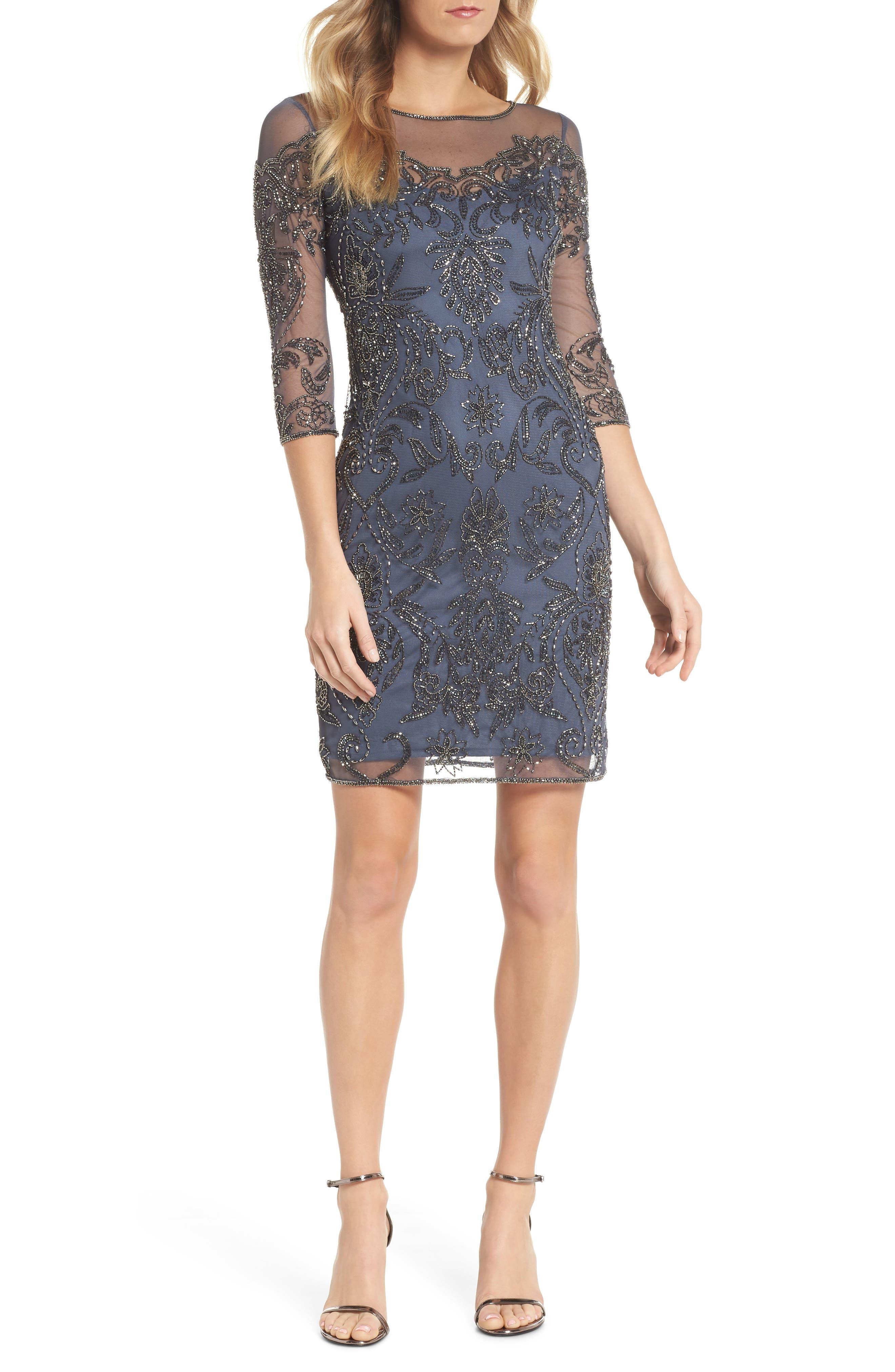 Beaded Illusion Mesh Sheath Dress,                         Main,                         color, Slate