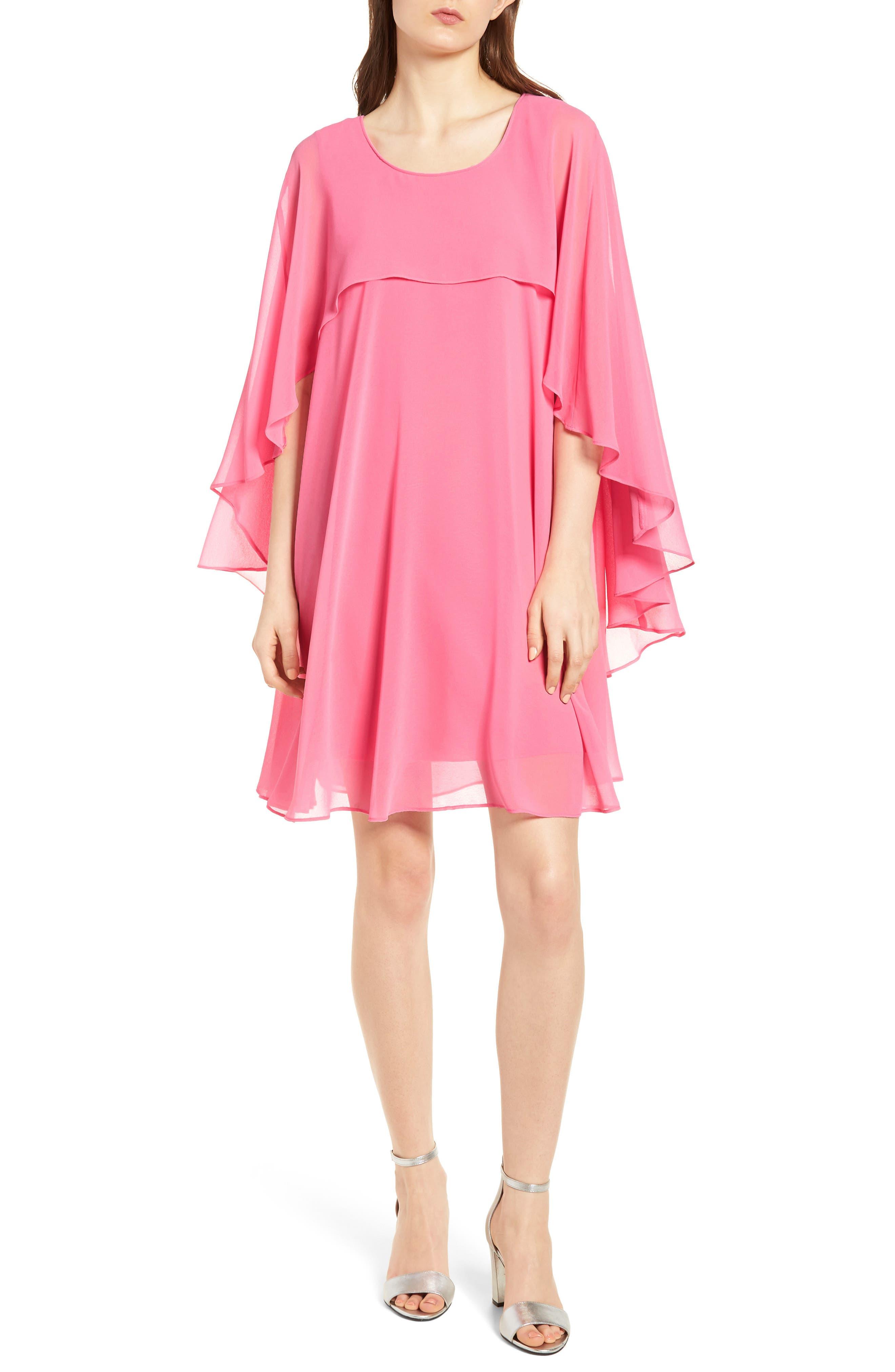 A-Line Chiffon Dress,                             Main thumbnail 1, color,                             Pink Zenna