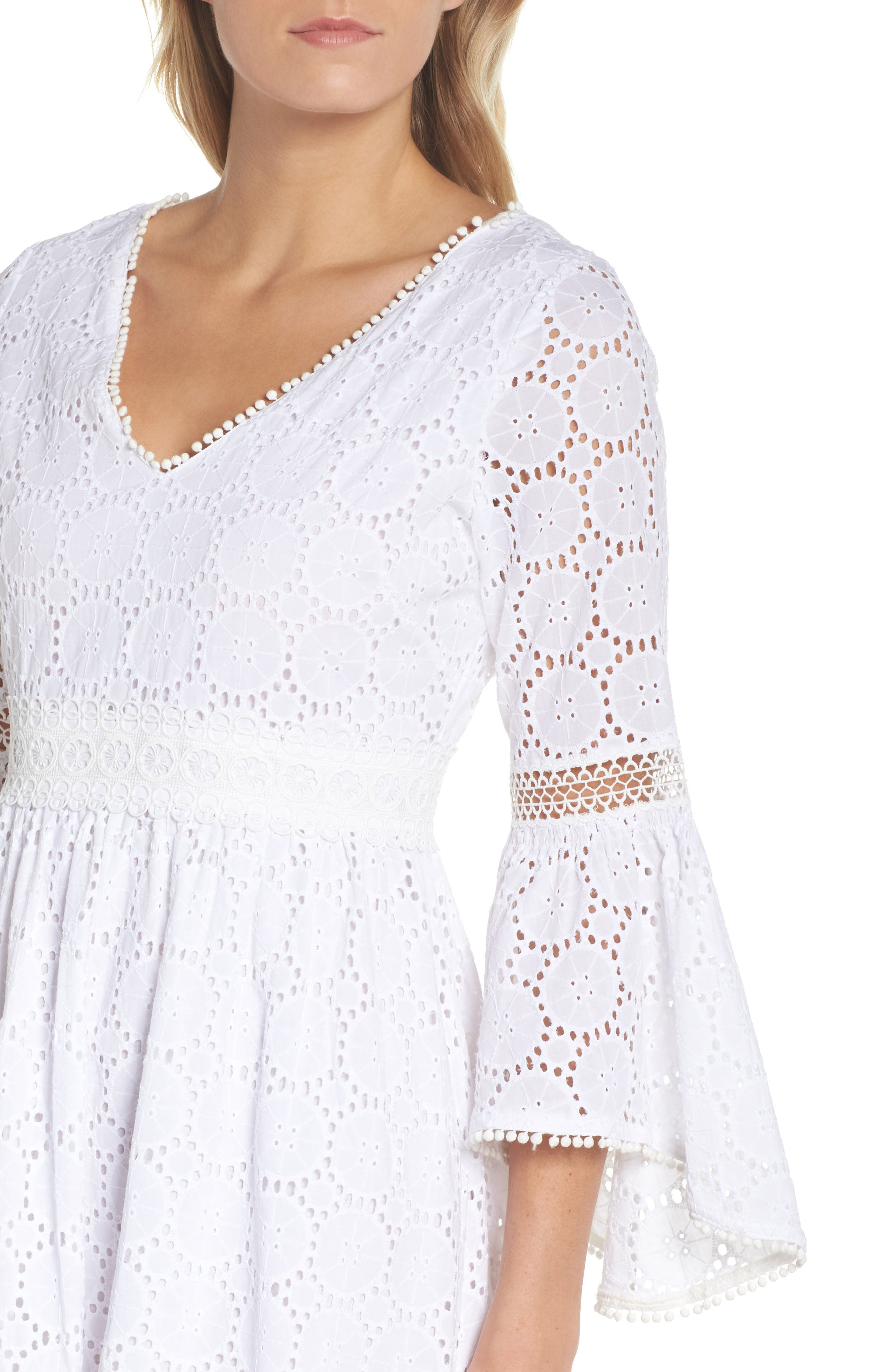 Bell Sleeve High/Low Eyelet Dress,                             Alternate thumbnail 4, color,                             Ivory