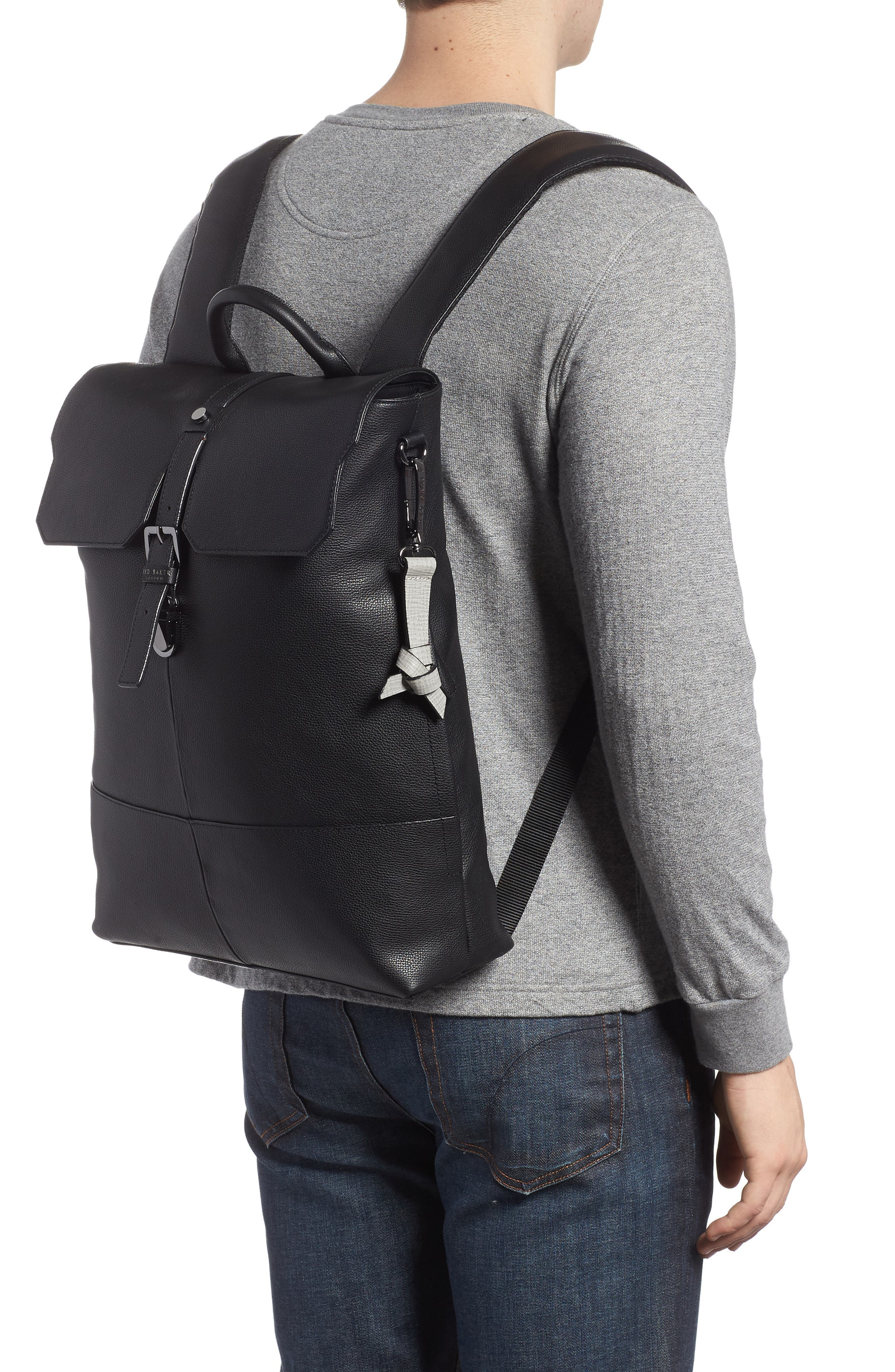 Beach Leather Backpack,                             Alternate thumbnail 2, color,                             Black