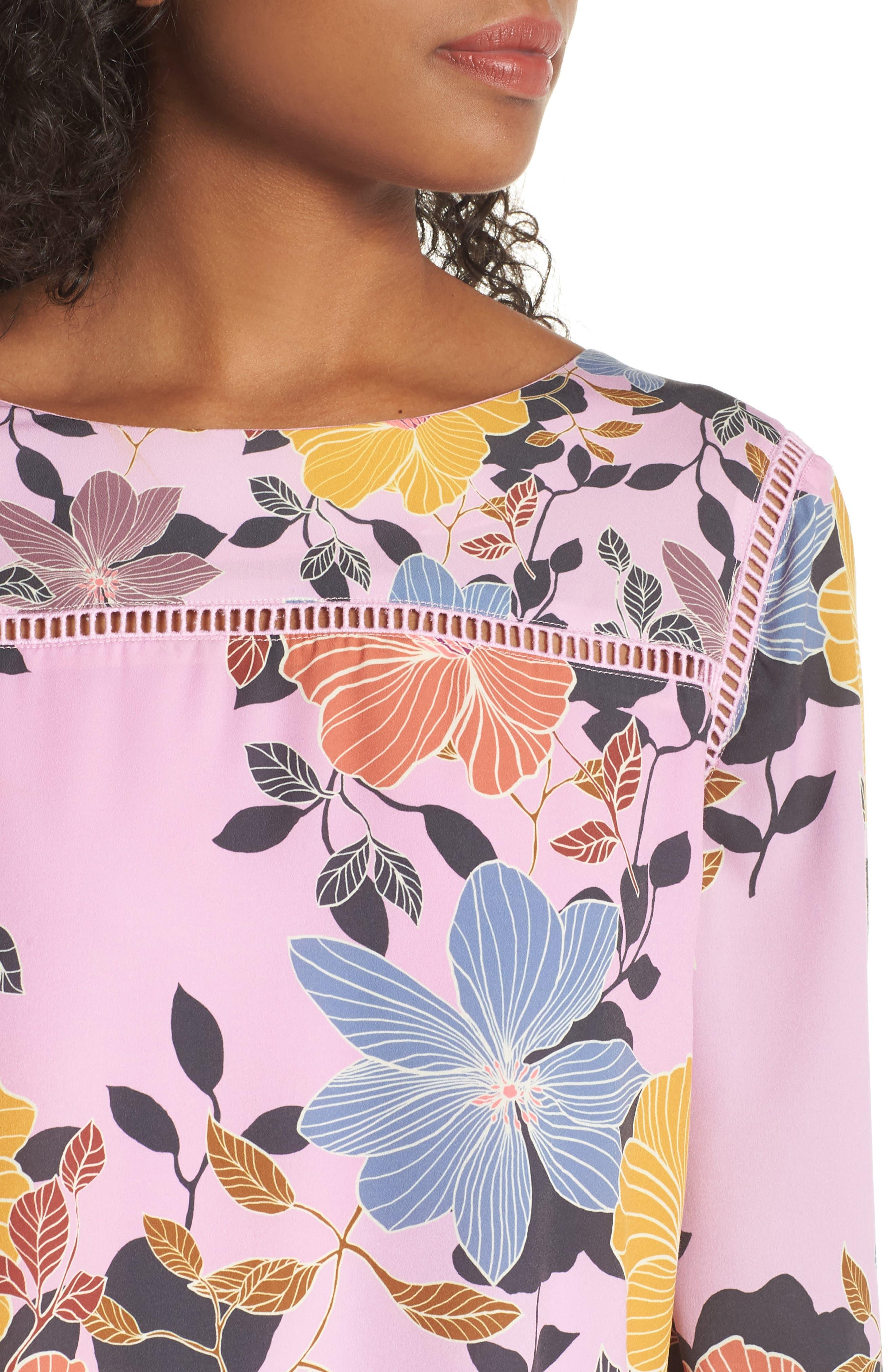 Shikoku Floral Crepe Shift Dress,                             Alternate thumbnail 4, color,                             Violet Vice Multi