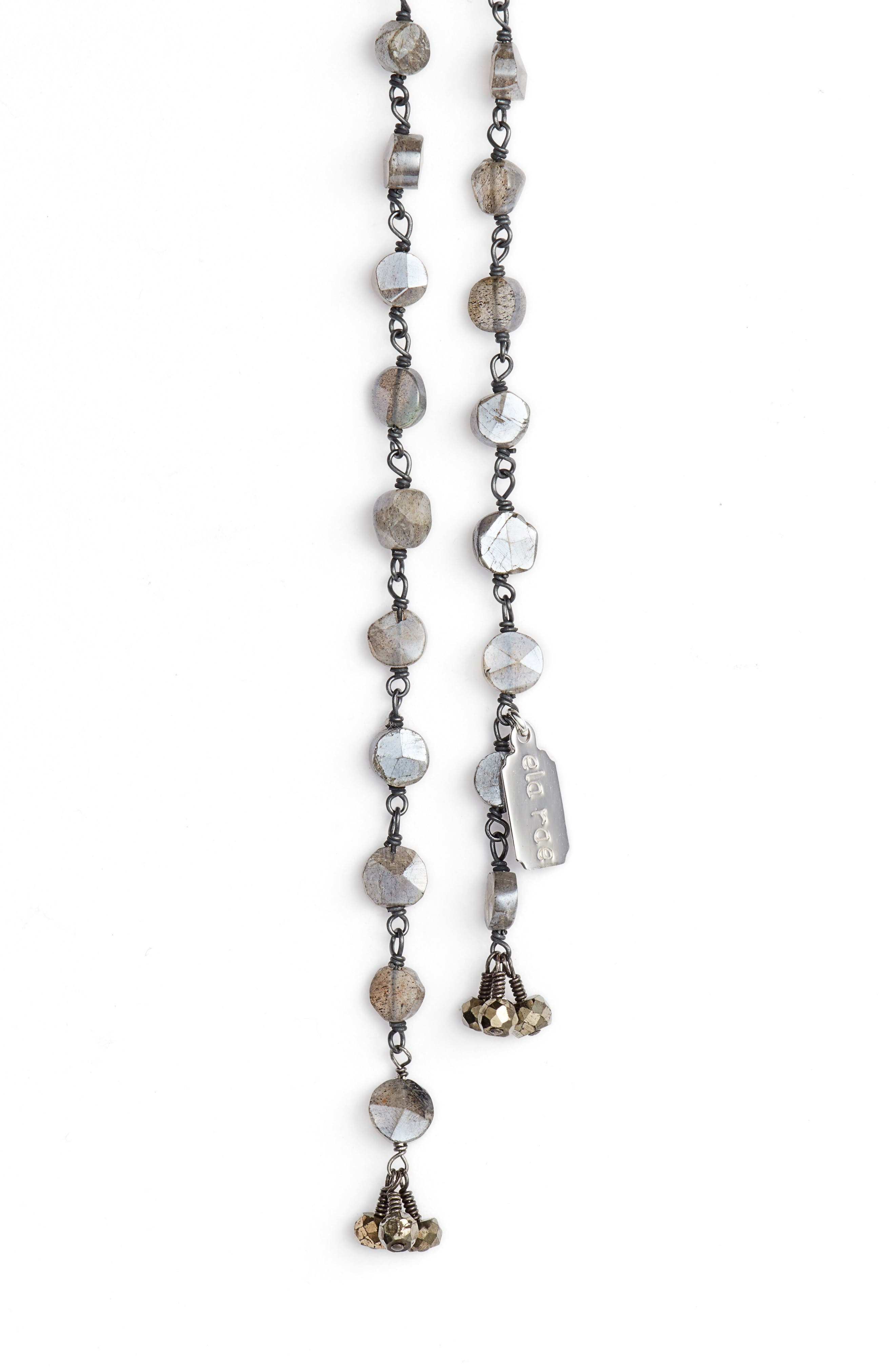 Diana Lariat Necklace,                             Alternate thumbnail 2, color,                             Mystic Labradorite Coin
