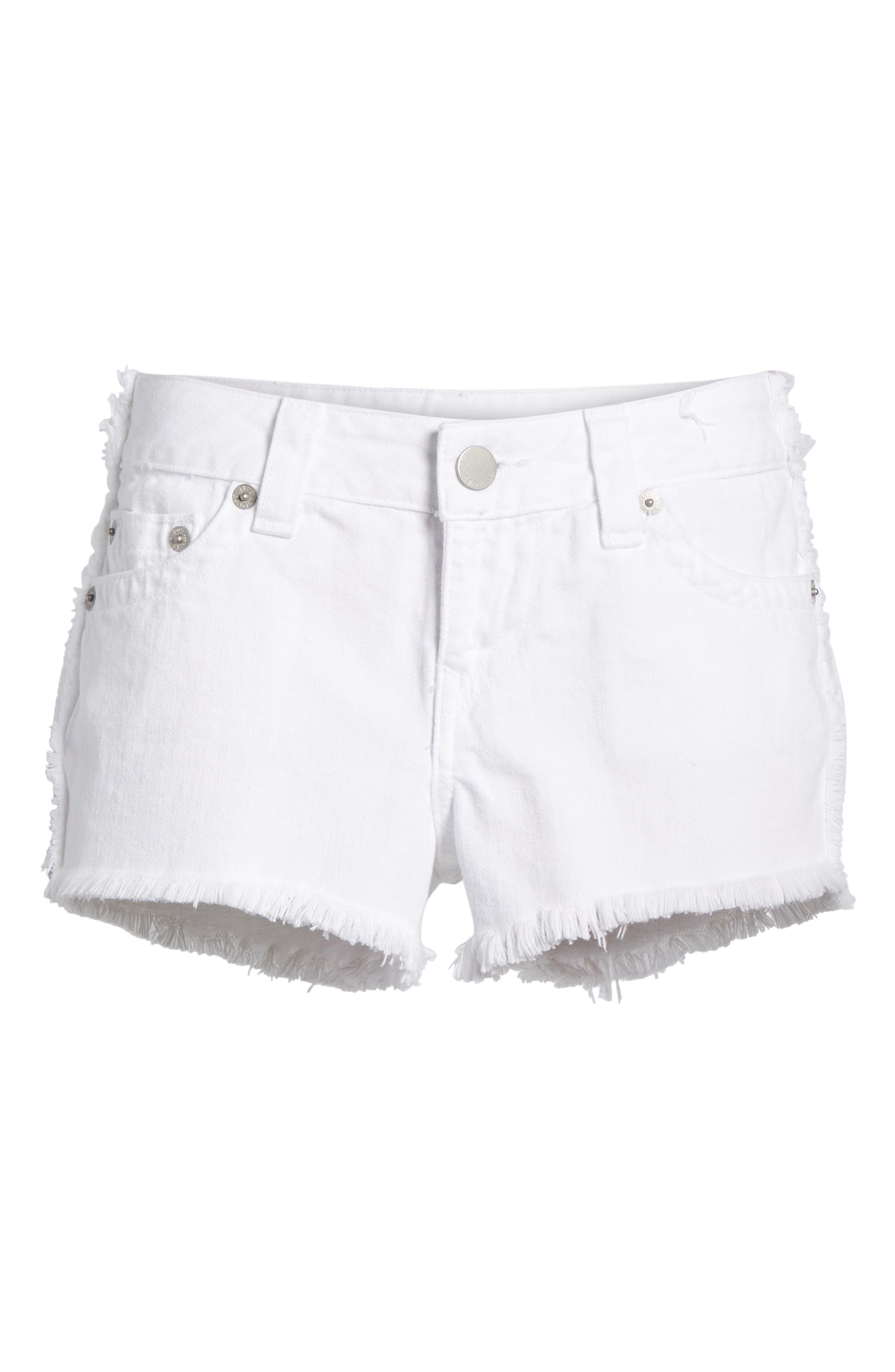 Kieras Cutoff Denim Shorts,                             Alternate thumbnail 7, color,                             Eucd Optic White
