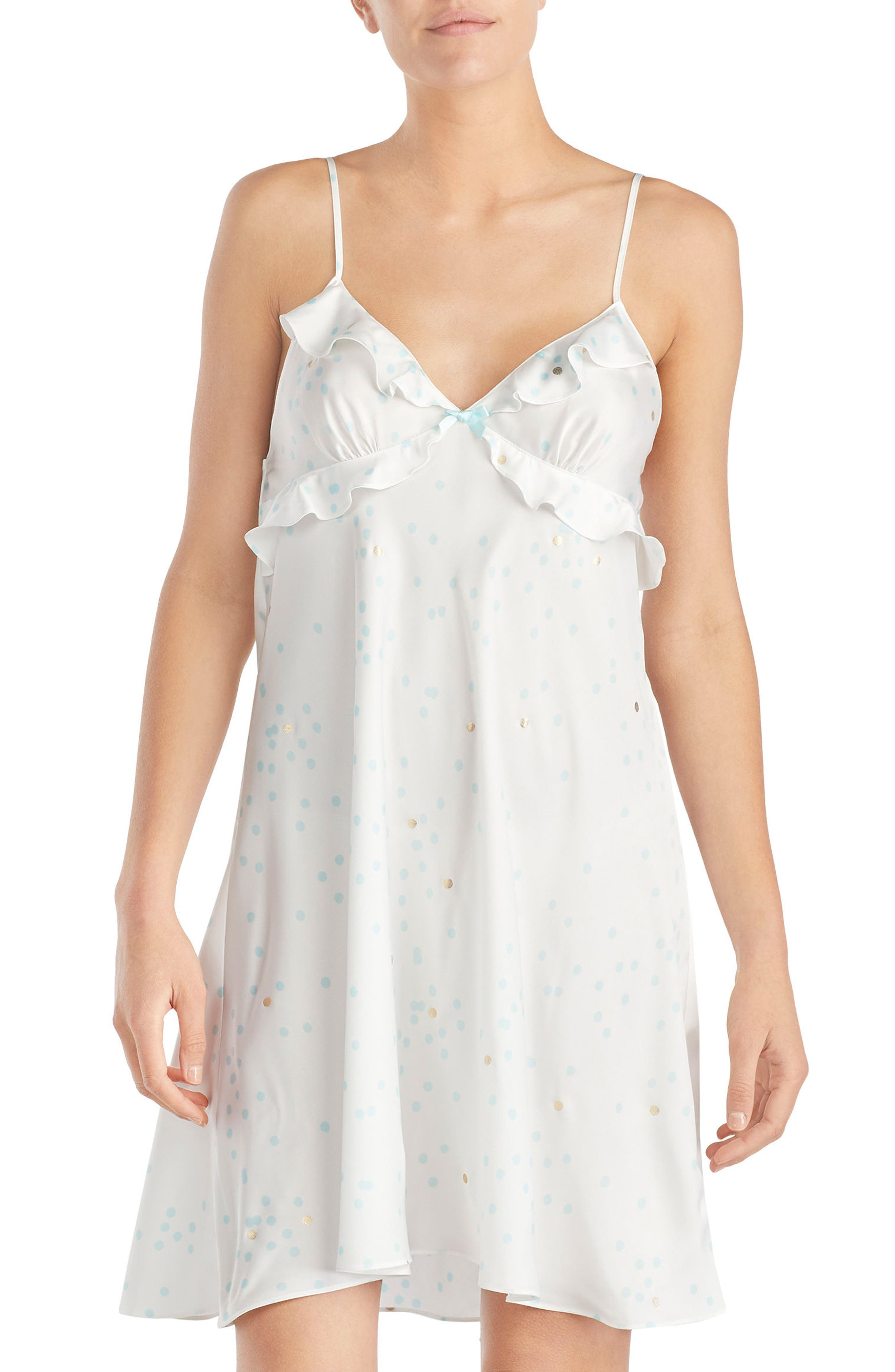 print charmeuse chemise,                         Main,                         color, Gold Dot