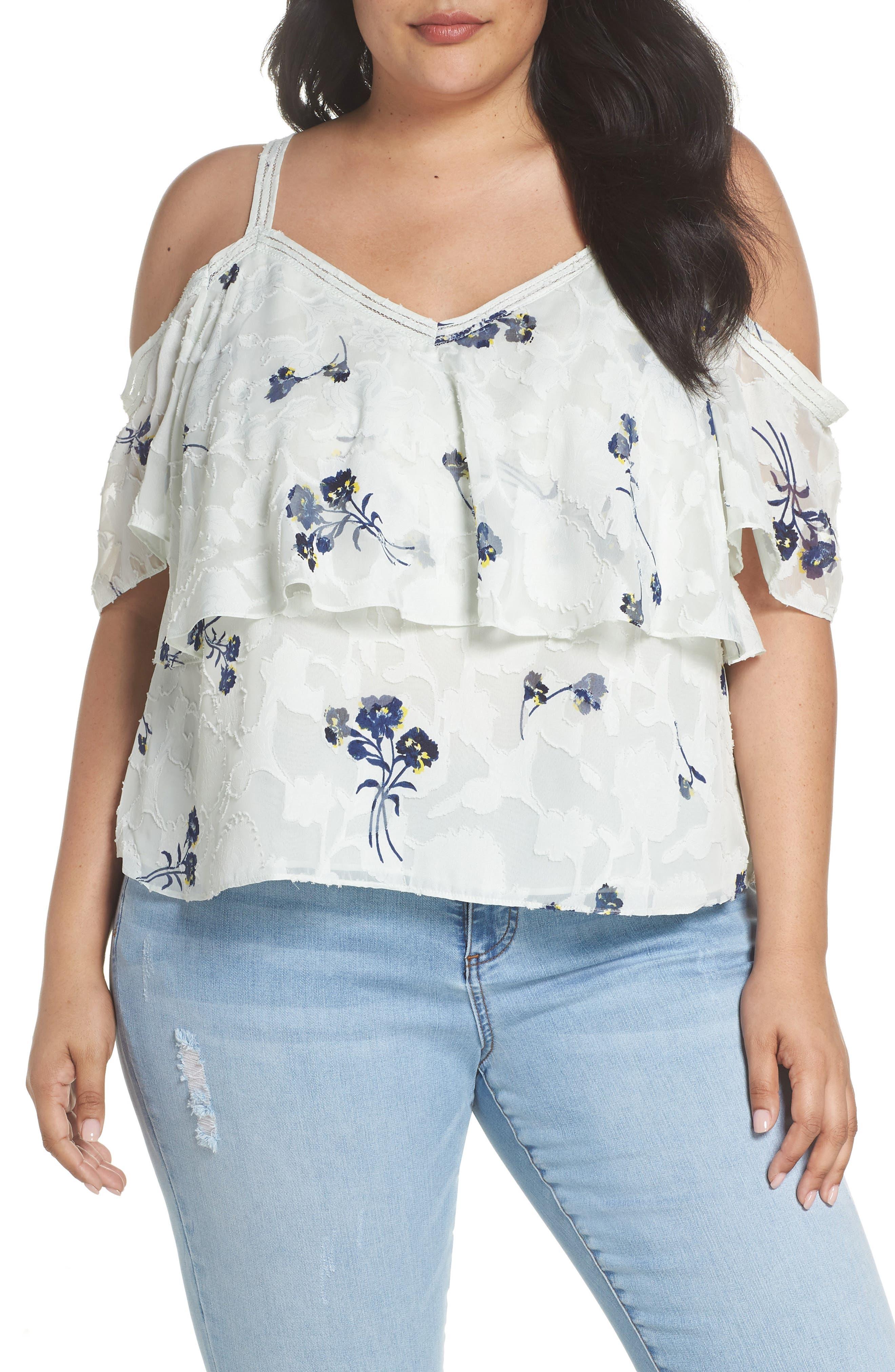 Floral Cold Shoulder Top,                         Main,                         color, Multi