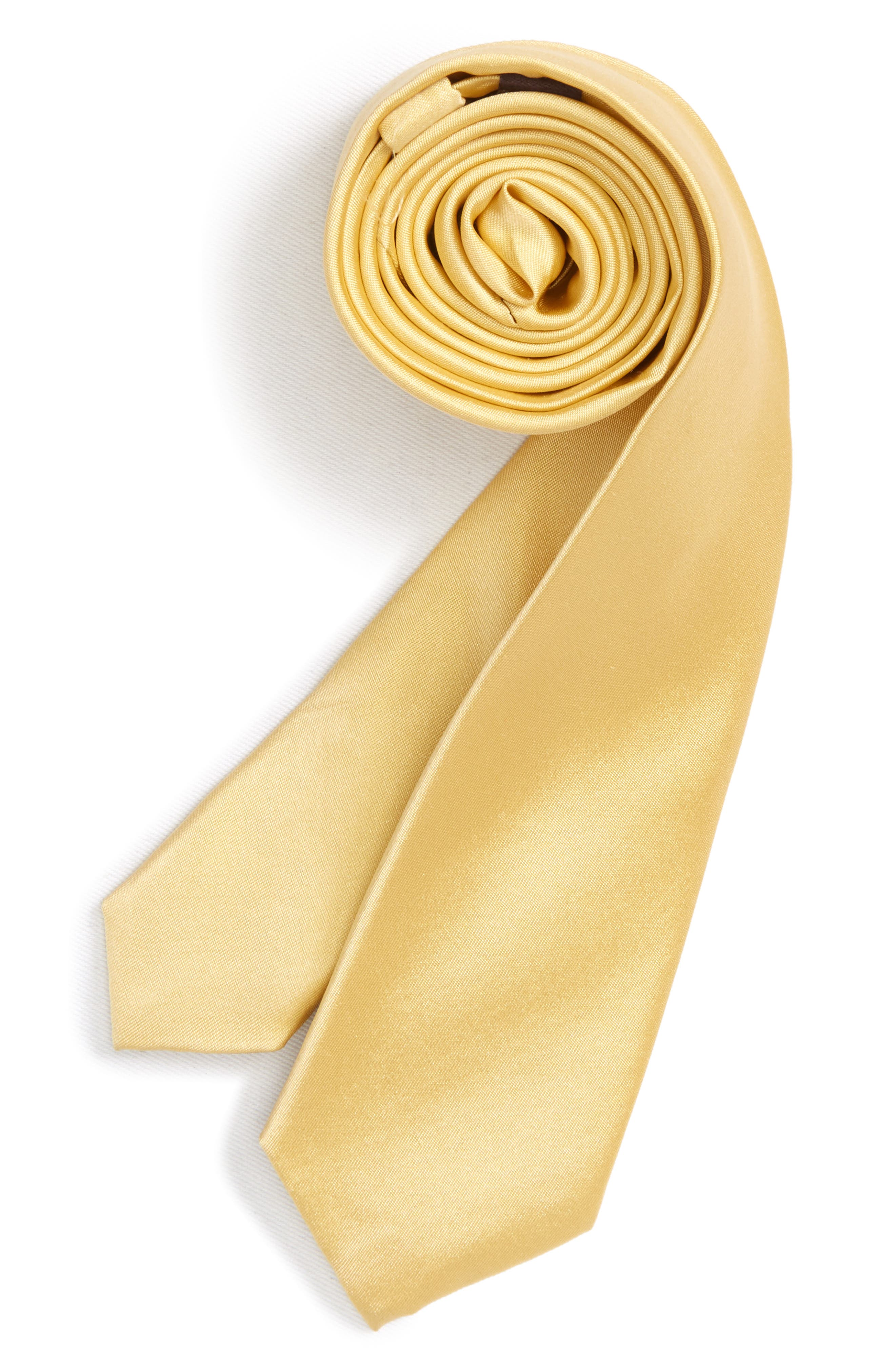 Solid Matte Satin Tie,                             Main thumbnail 1, color,                             Yellow