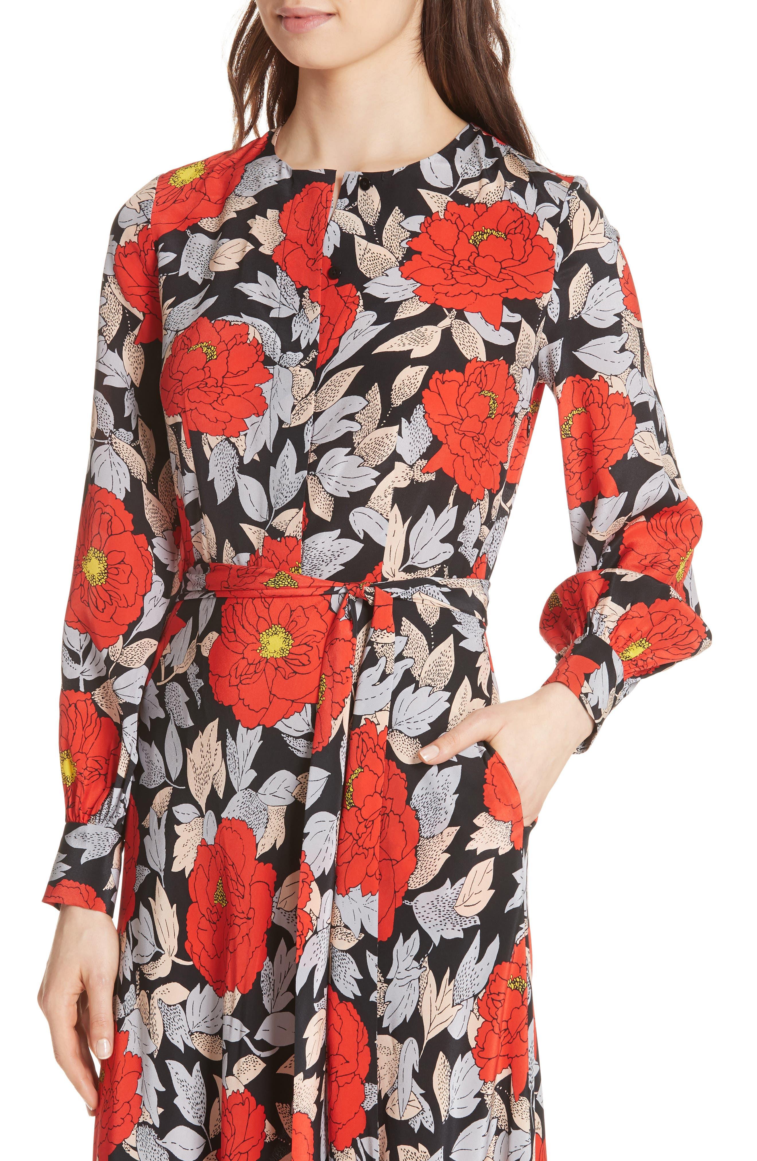 Waist Tie Silk Maxi Dress,                             Alternate thumbnail 4, color,                             Boswell Black
