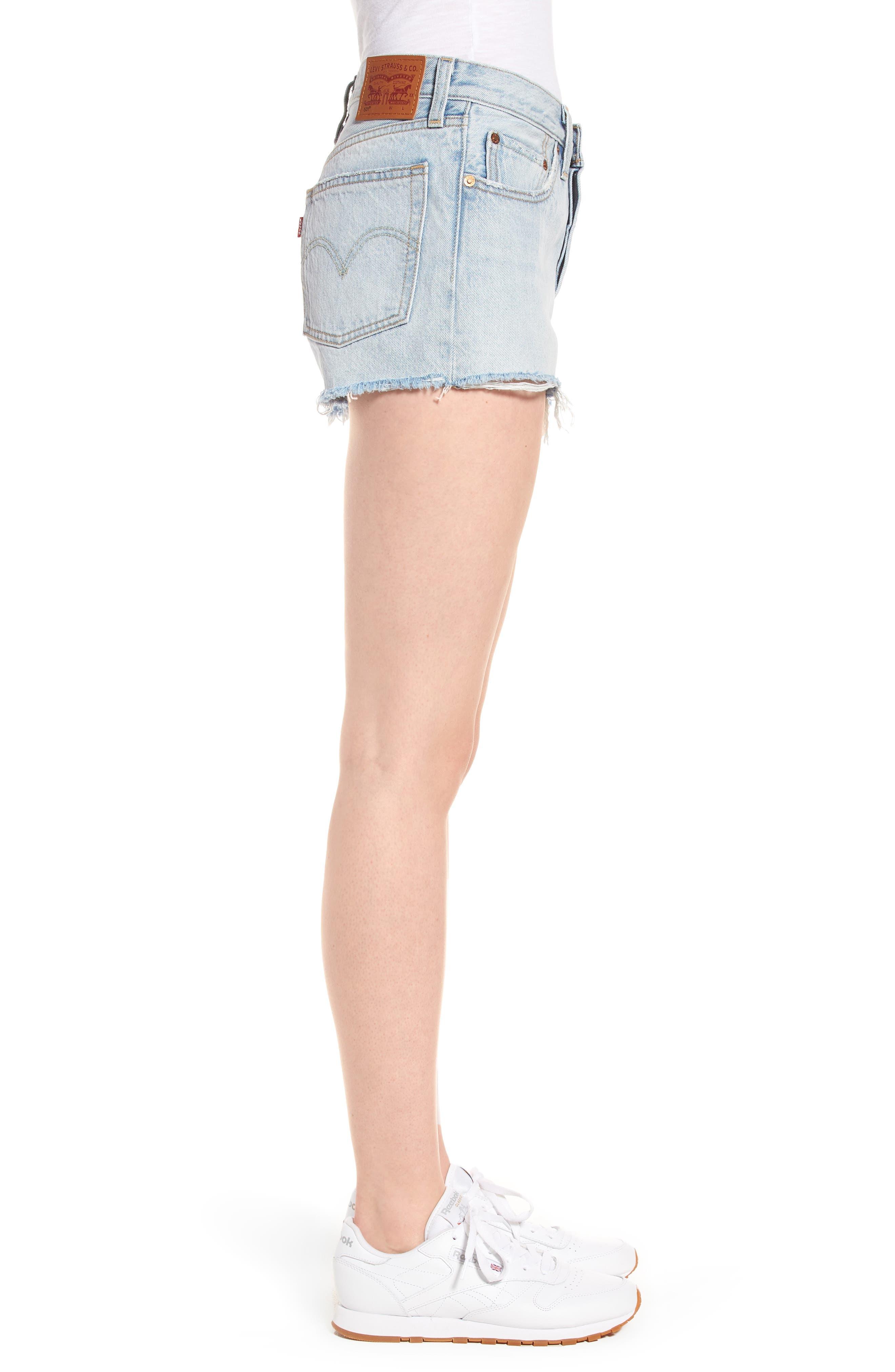 501<sup>®</sup> Cutoff Denim Shorts,                             Alternate thumbnail 3, color,                             Bleached Authentic