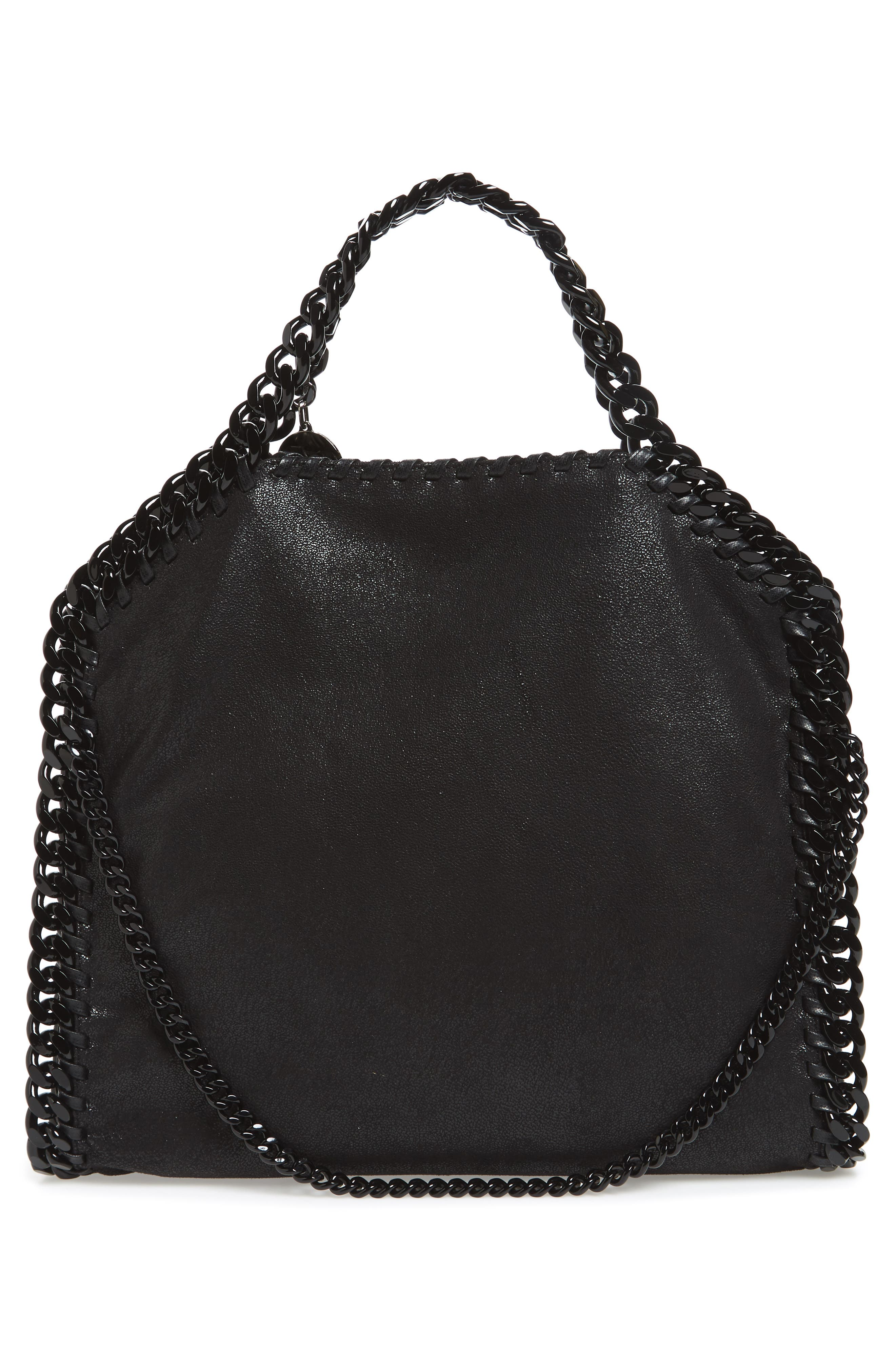 Falabella Shaggy Deer Faux Leather Tote,                             Alternate thumbnail 3, color,                             Black