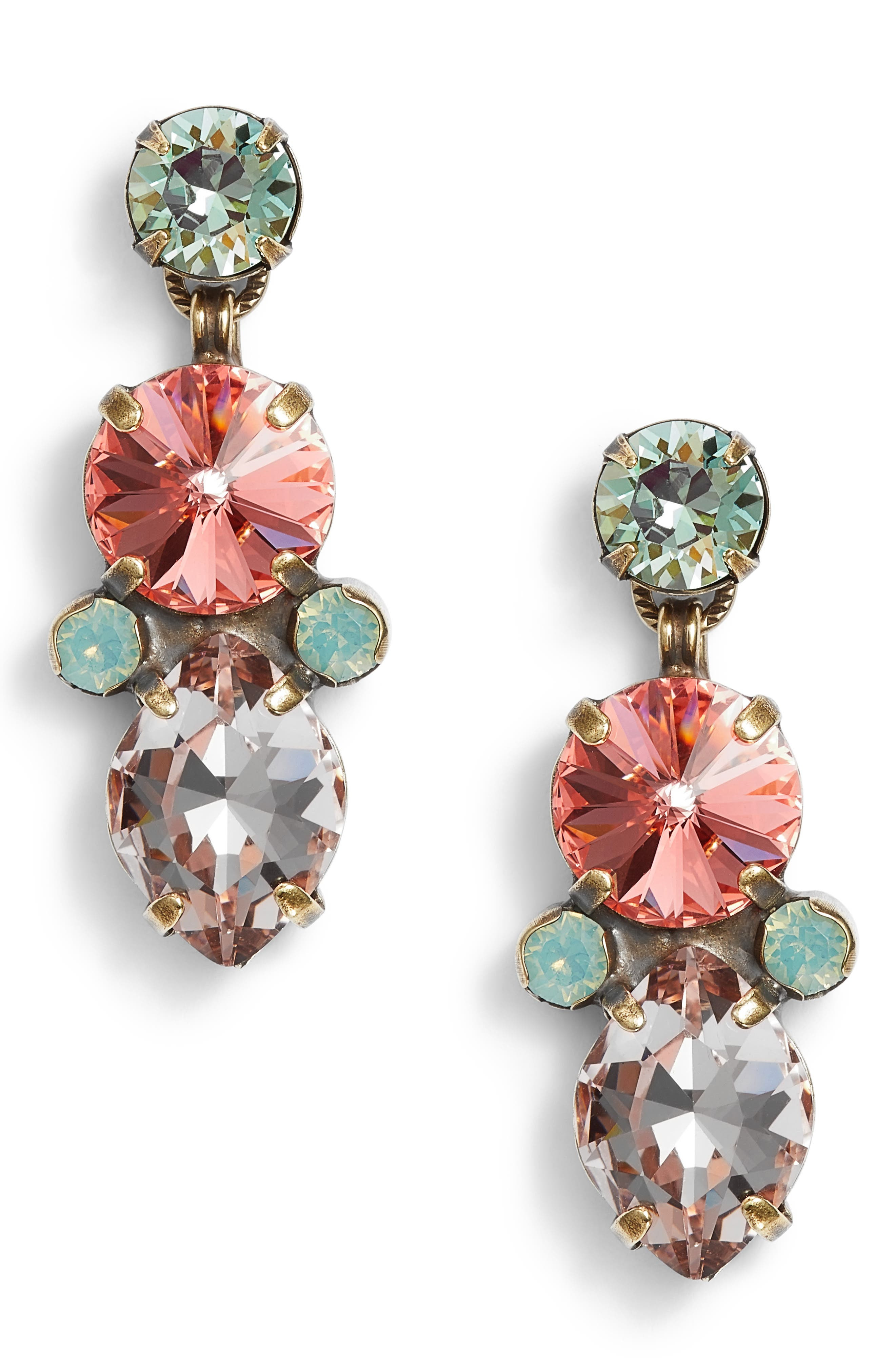 Iris Crystal Drop Earrings,                         Main,                         color, Pink/ Blue-Green