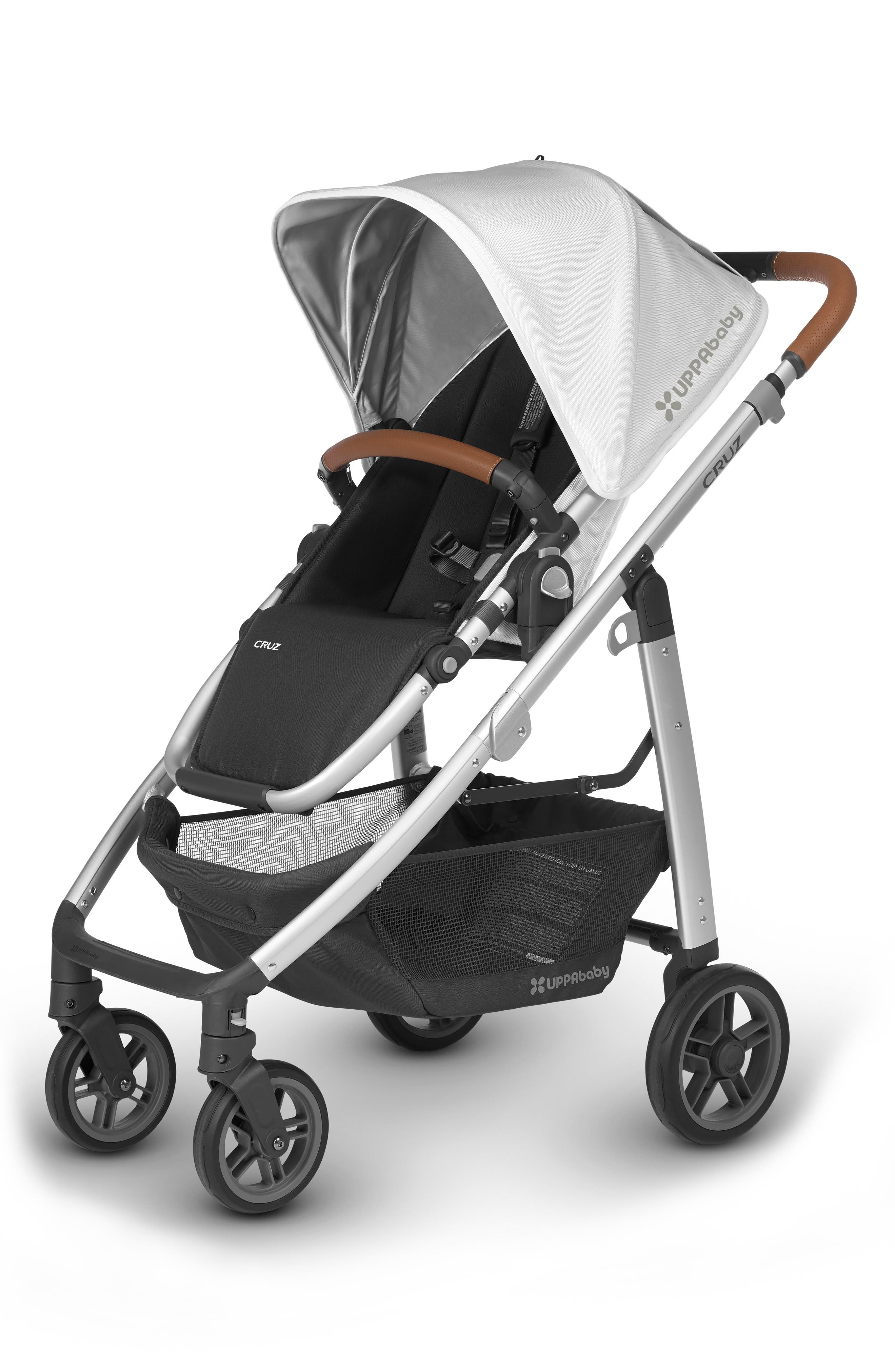 2017 VISTA Aluminum Frame Convertible Stroller with Bassinet & Toddler Seat,                             Main thumbnail 1, color,                             White/ Silver
