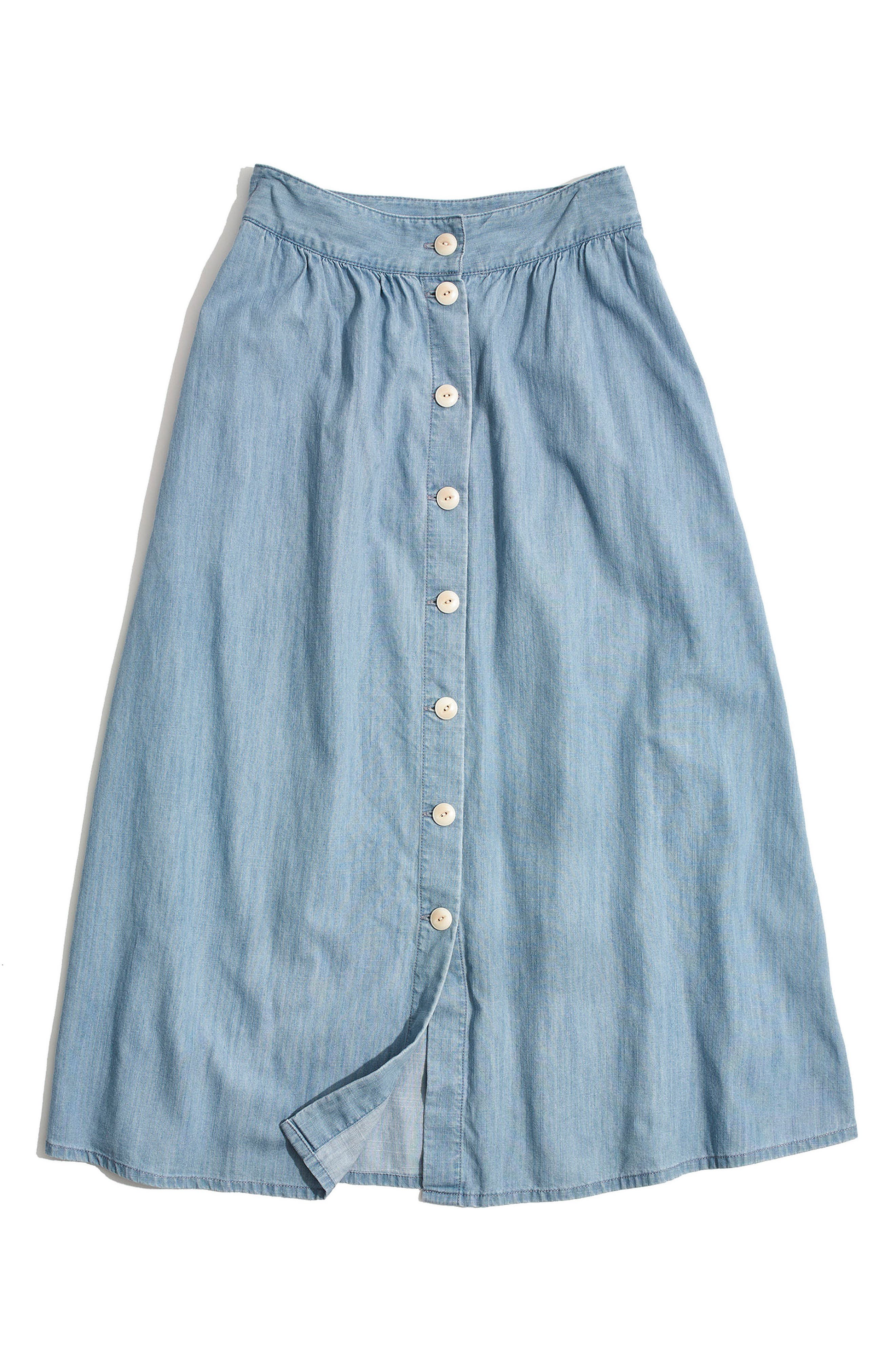 Button Front Midi Skirt,                             Alternate thumbnail 4, color,                             Altamira Wash