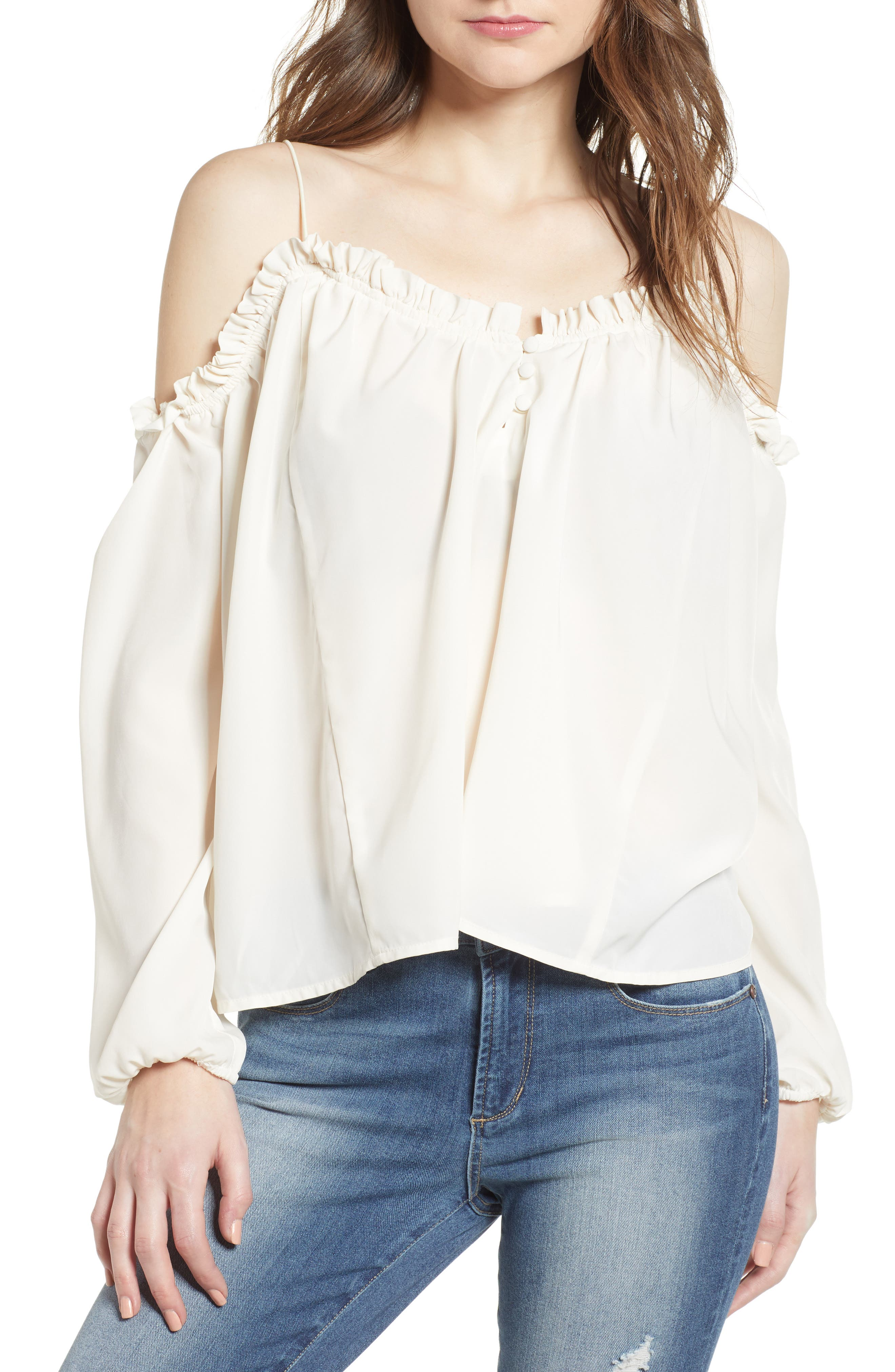 Cold Shoulder Blouson Top,                             Main thumbnail 1, color,                             Ivory Egret