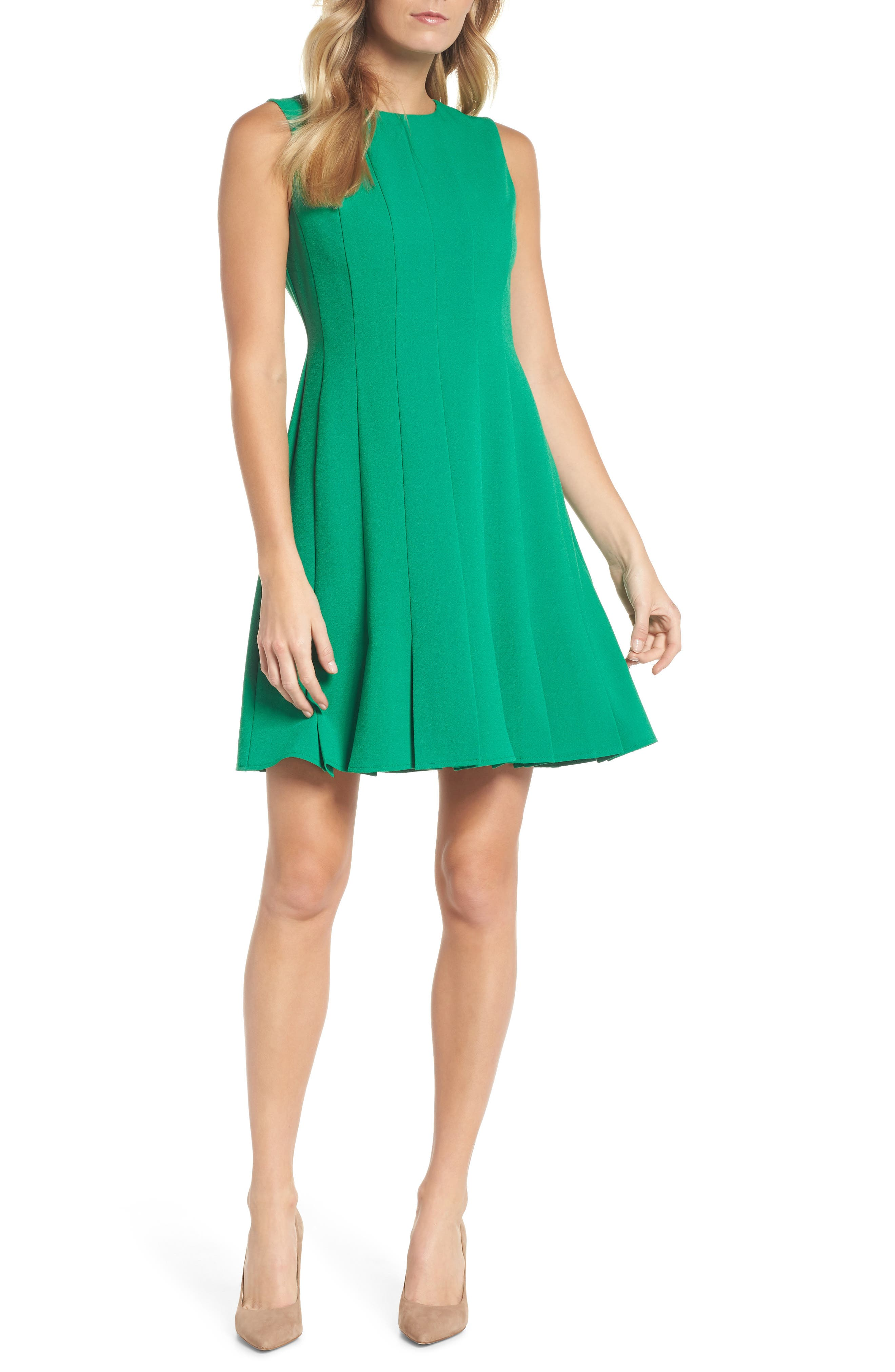 Sleeveless Pleat Panel Fit & Flare Dress,                             Main thumbnail 1, color,                             Green