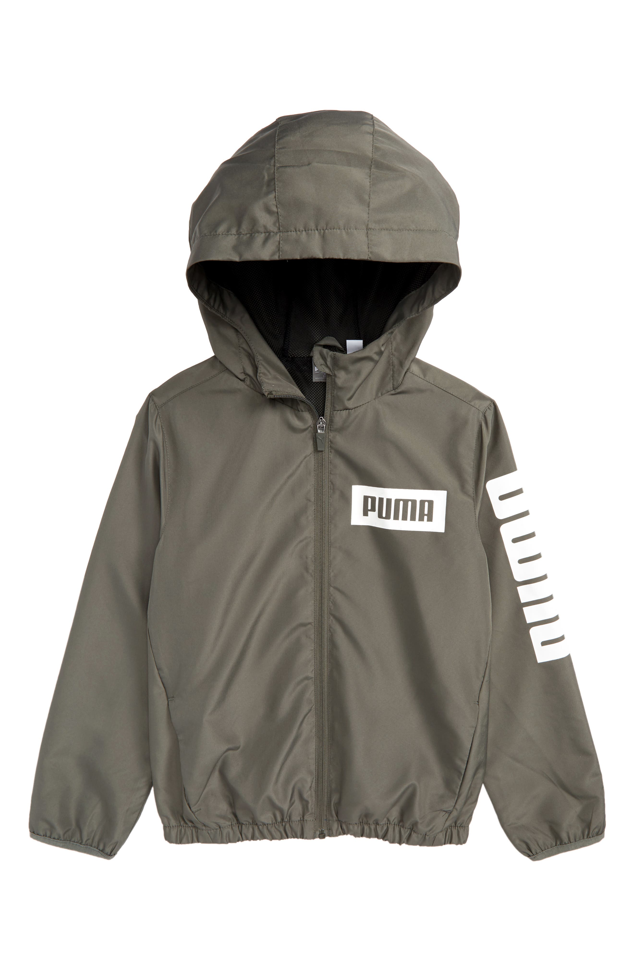 PUMA Rebel Full Zip Hooded Windbreaker Jacket (Big Boys)