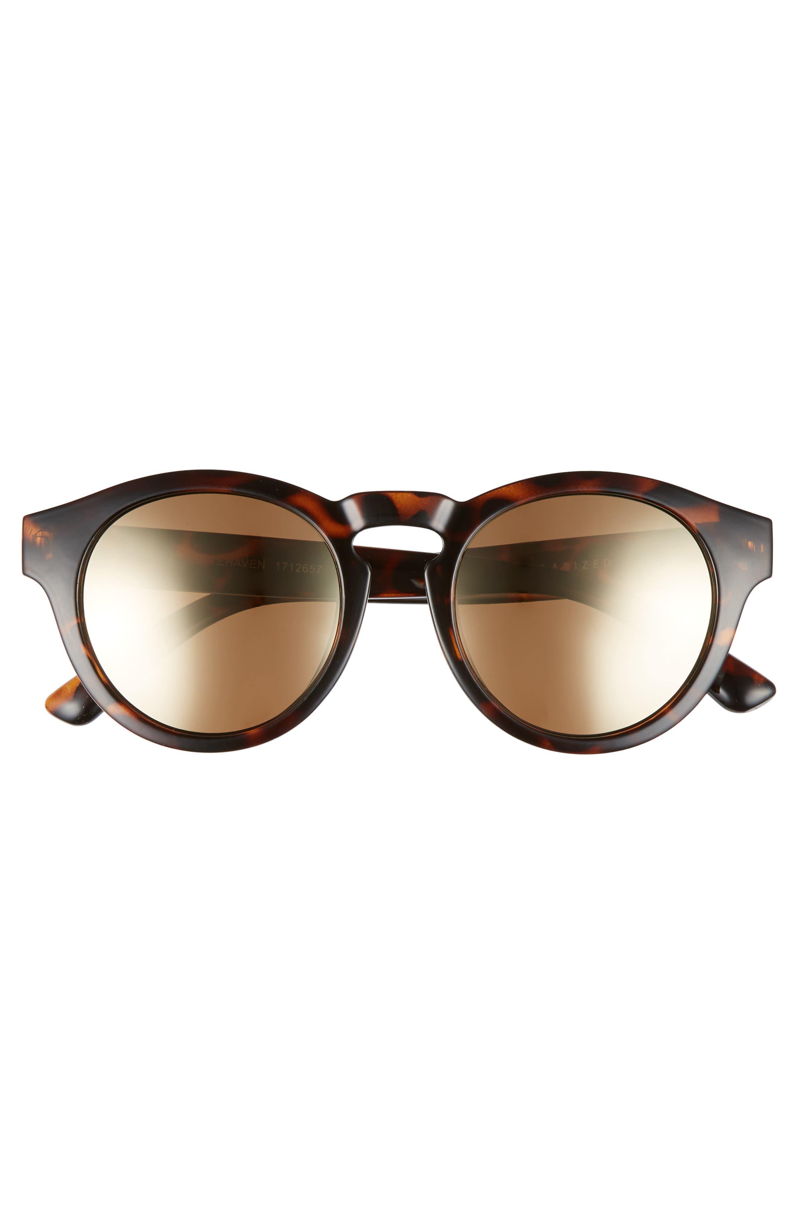 Whitehaven 49mm Round Lens Polarized Sunglasses,                             Alternate thumbnail 3, color,                             Dark Tort