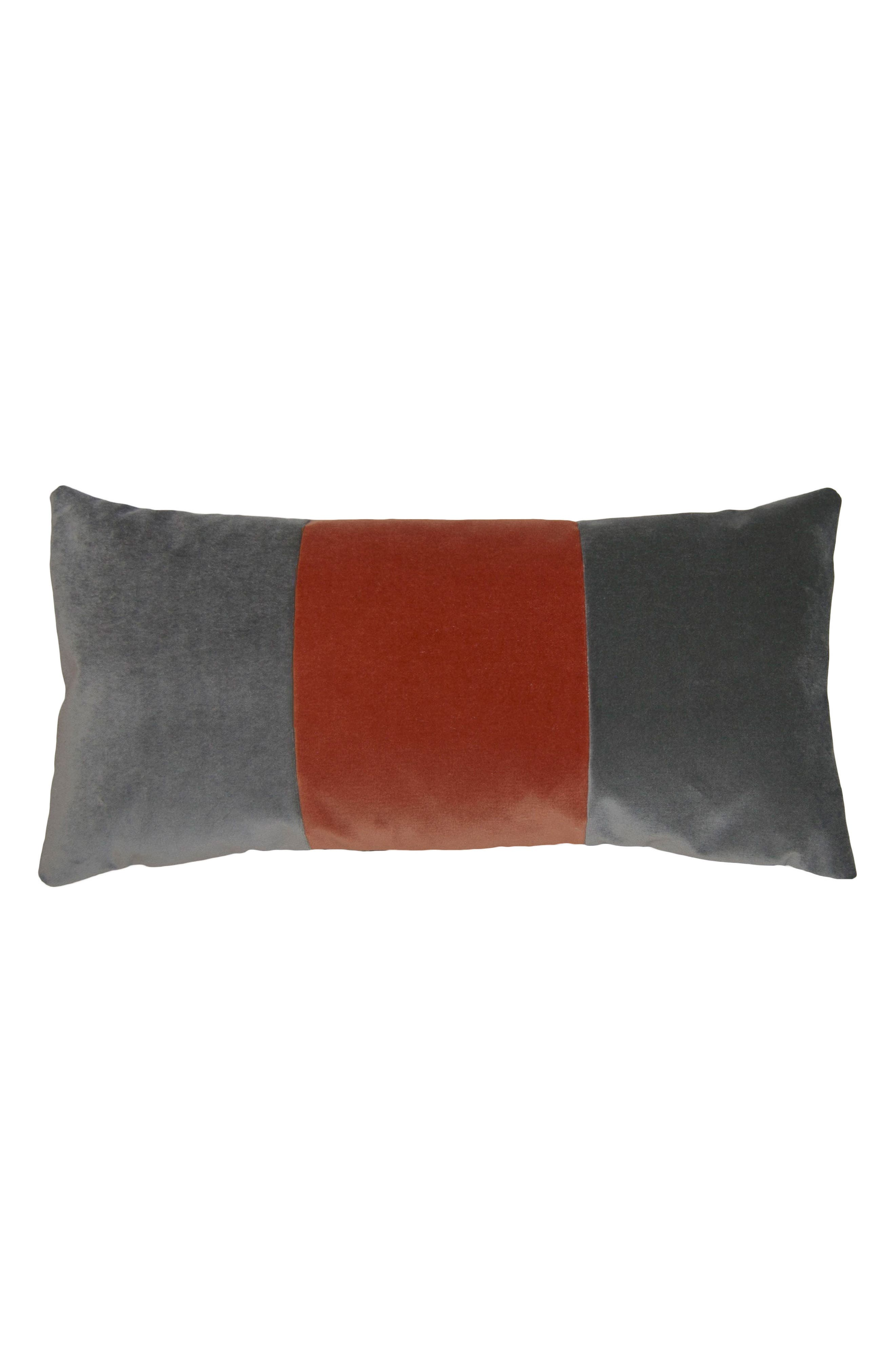 Square Feathers Tang Orange Band Accent Pillow
