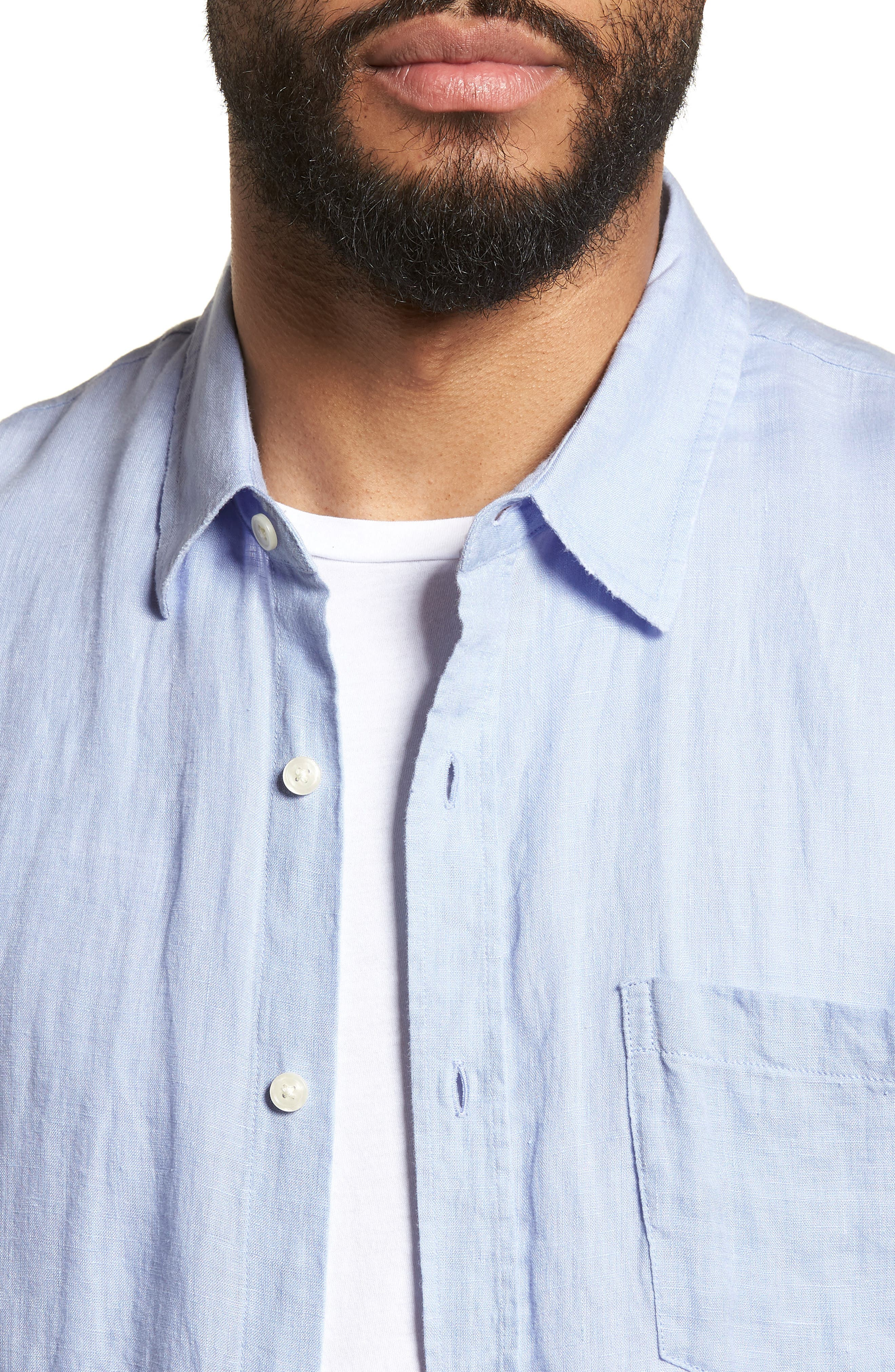 Washed Slim Fit Linen Sport Shirt,                             Alternate thumbnail 4, color,                             Feather