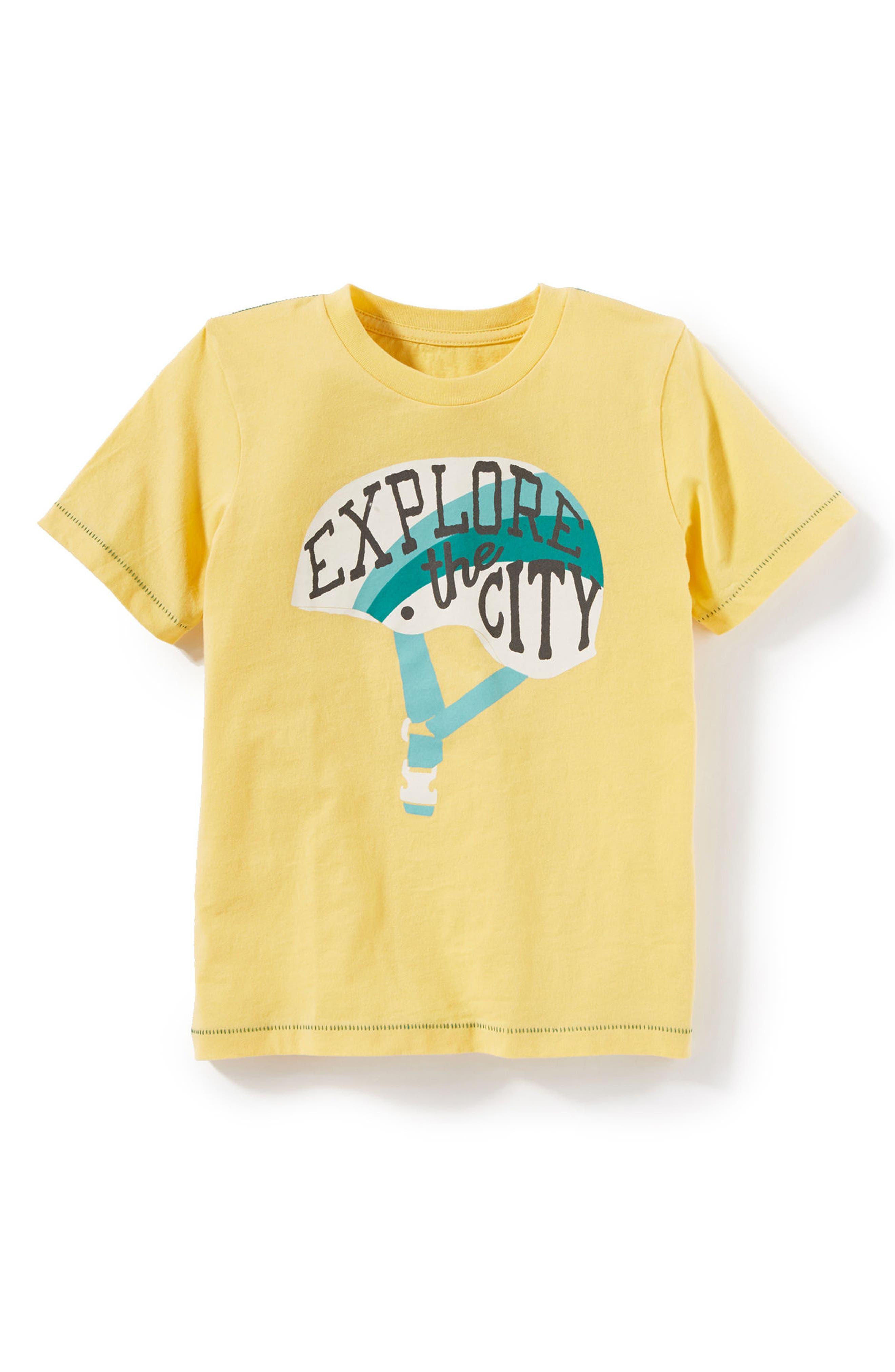 Explore the City Graphic T-Shirt,                             Main thumbnail 1, color,                             Yellow