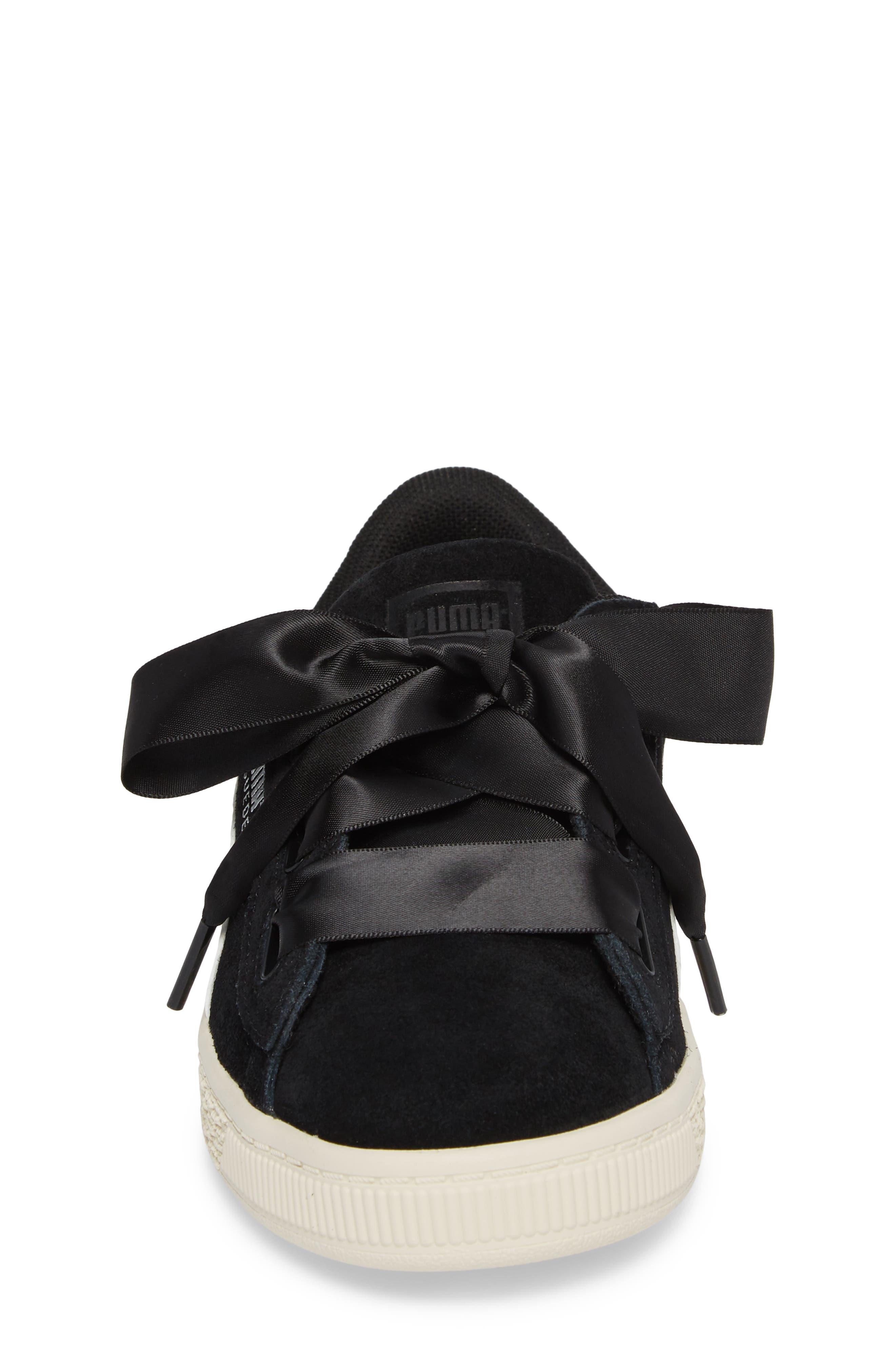 Suede Heart Sneaker,                             Alternate thumbnail 4, color,                             Puma Black/ Whisper White