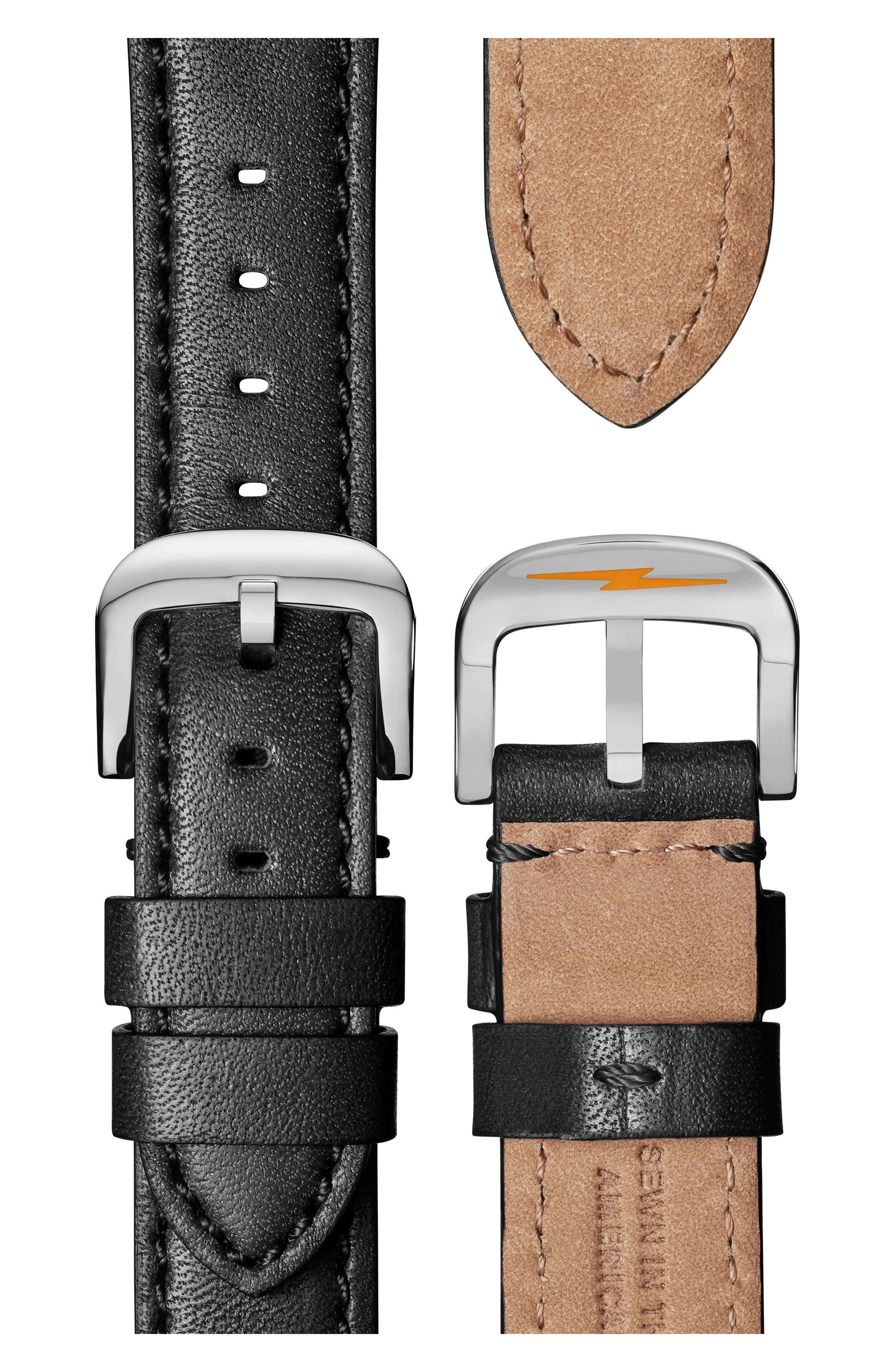 The Canfield Chrono Leather Strap Watch, 40mm,                             Alternate thumbnail 4, color,                             Black/ White/ Silver
